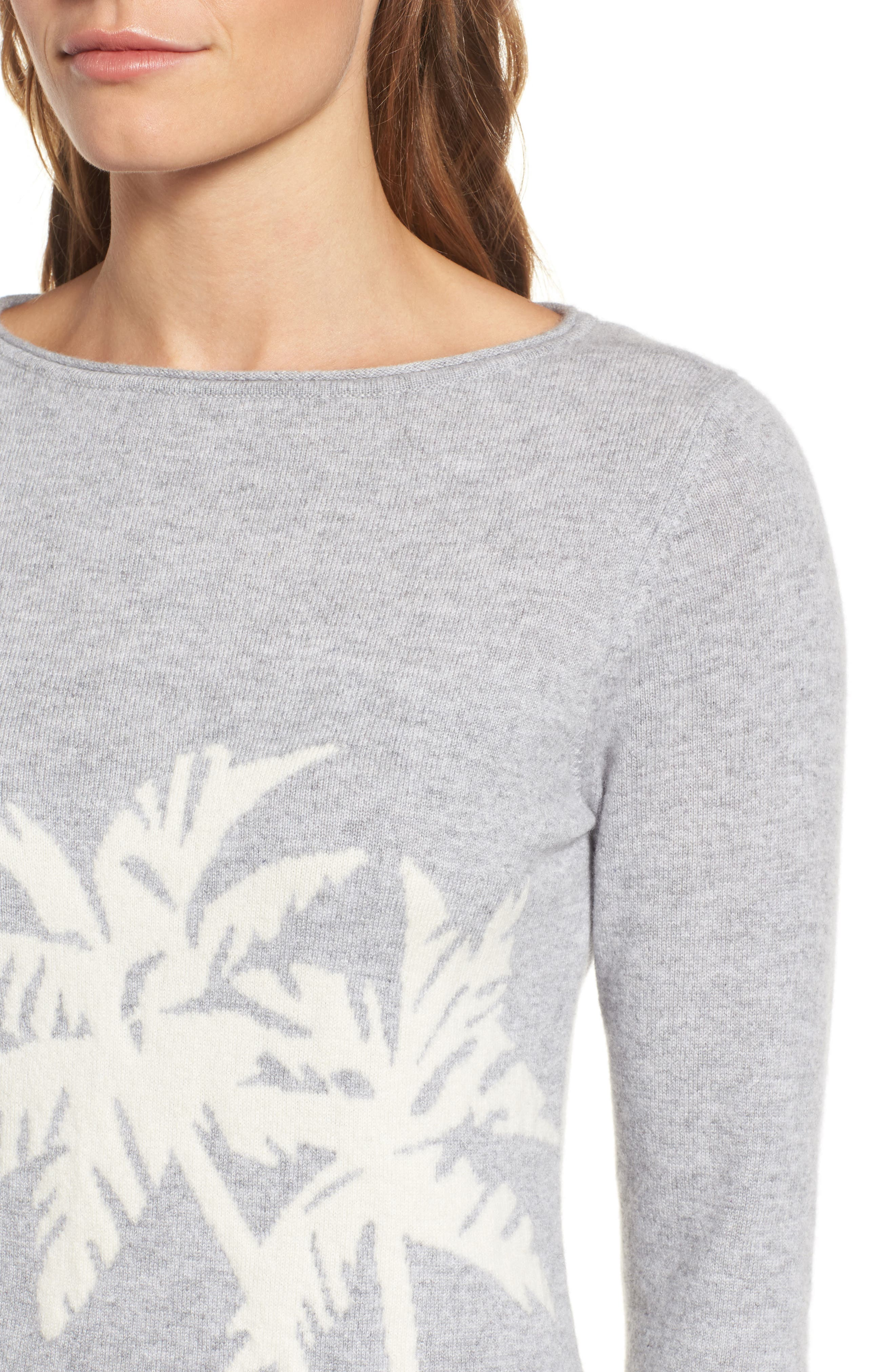 Island Palm Intarsia Cashmere Pullover,                             Alternate thumbnail 4, color,                             Light Grey Heather
