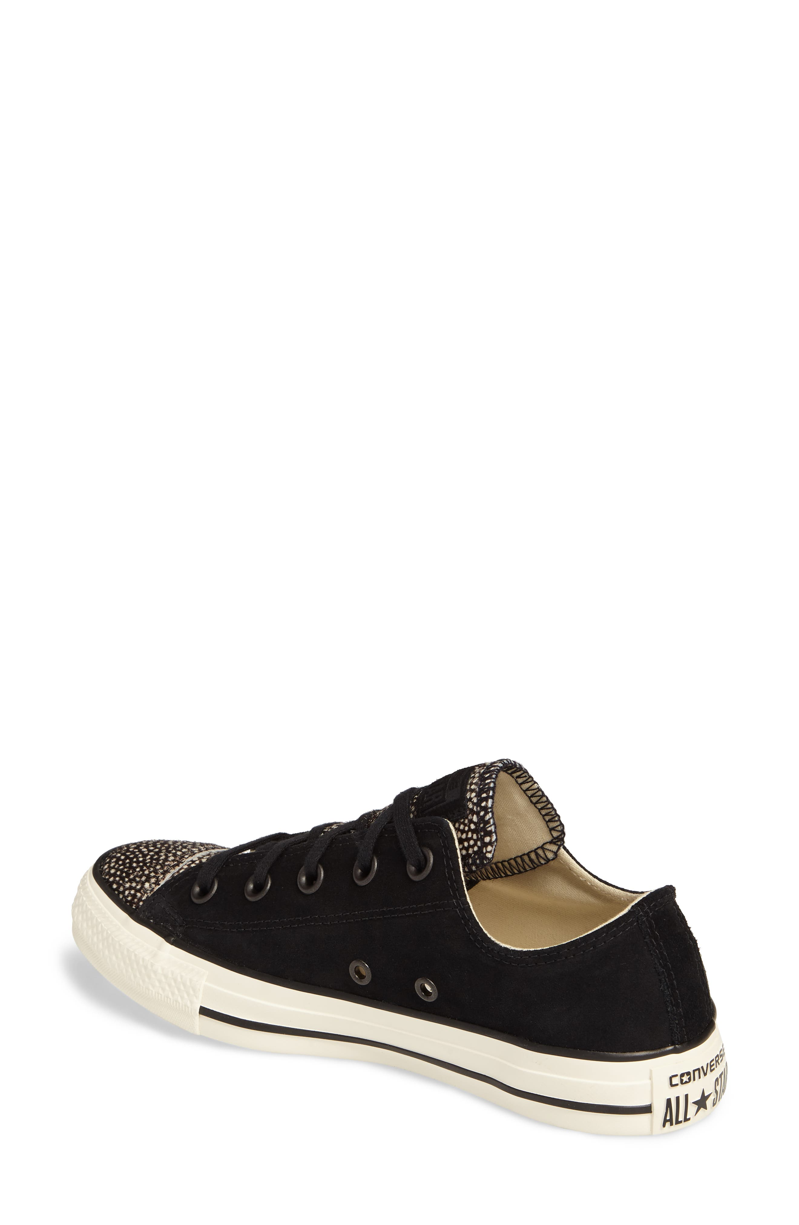 Chuck Taylor<sup>®</sup> All Star<sup>®</sup> Ox Genuine Calf Hair Sneaker,                             Alternate thumbnail 2, color,                             Black