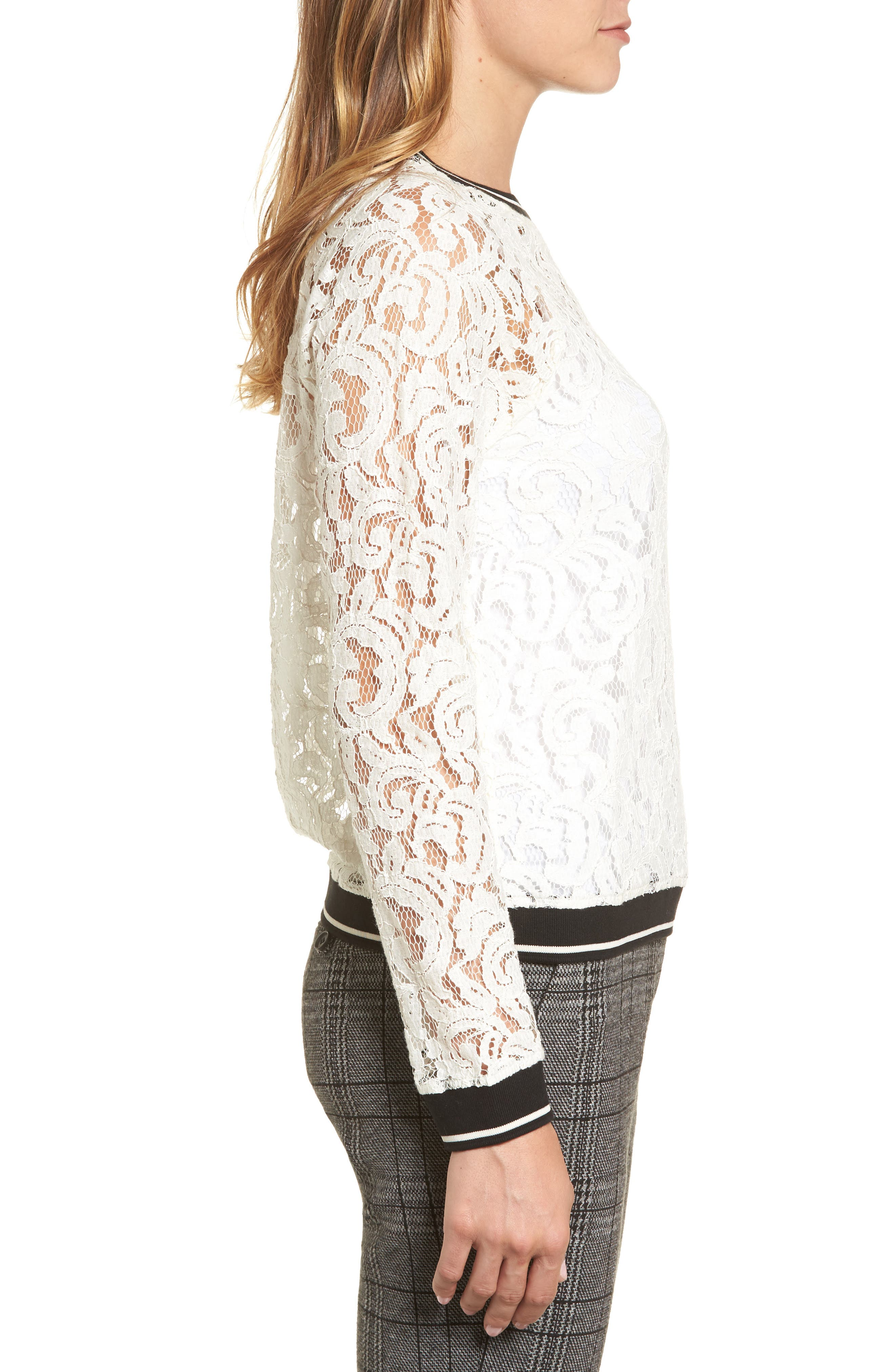 Ribbed Trim Lace Top,                             Alternate thumbnail 3, color,                             Ivory