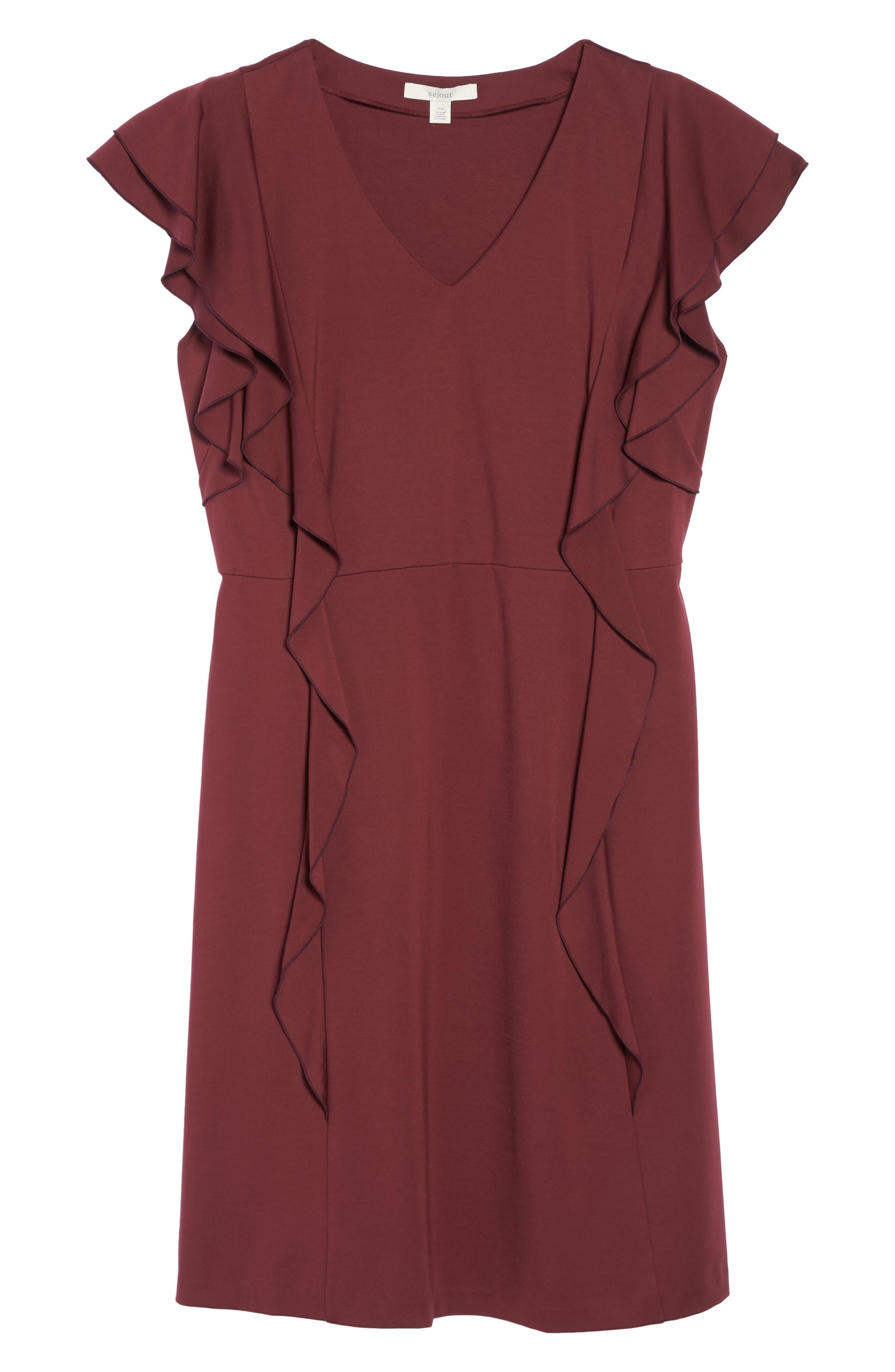 Alternate Image 6  - Sejour Ruffle Ponte Dress (Plus Size)