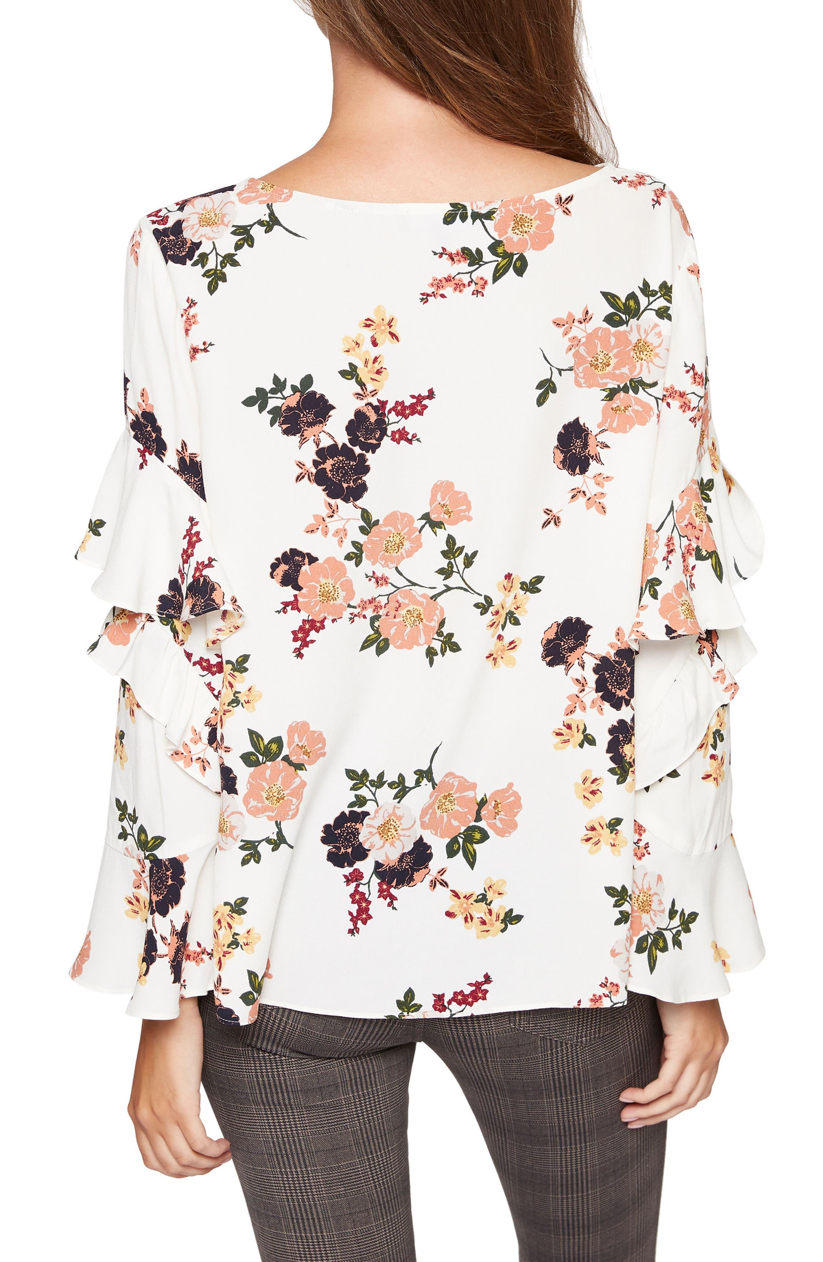Bianca Ruffle Floral Print Top,                             Alternate thumbnail 2, color,                             Woodlands Cream
