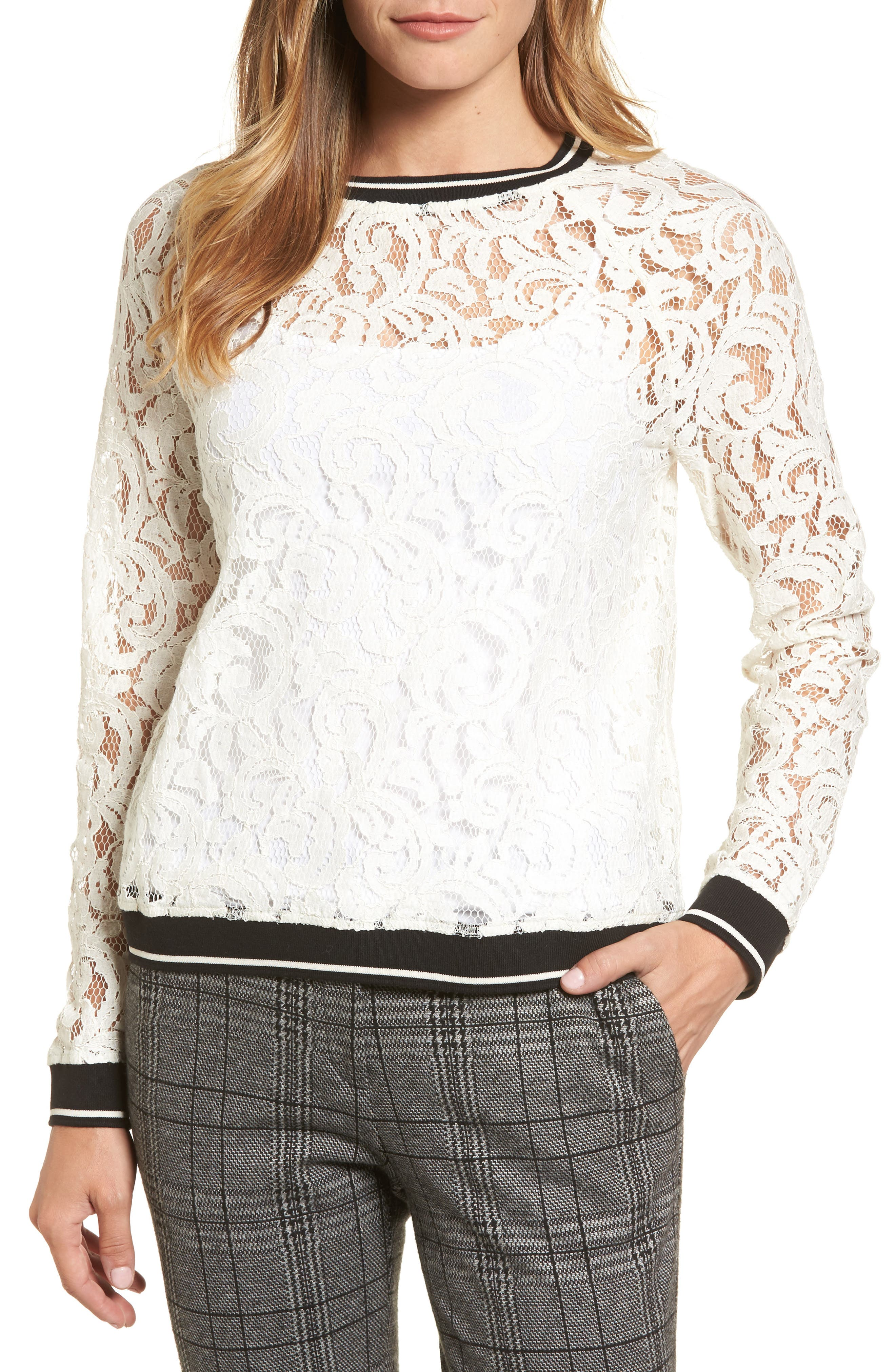 Ribbed Trim Lace Top,                         Main,                         color, Ivory