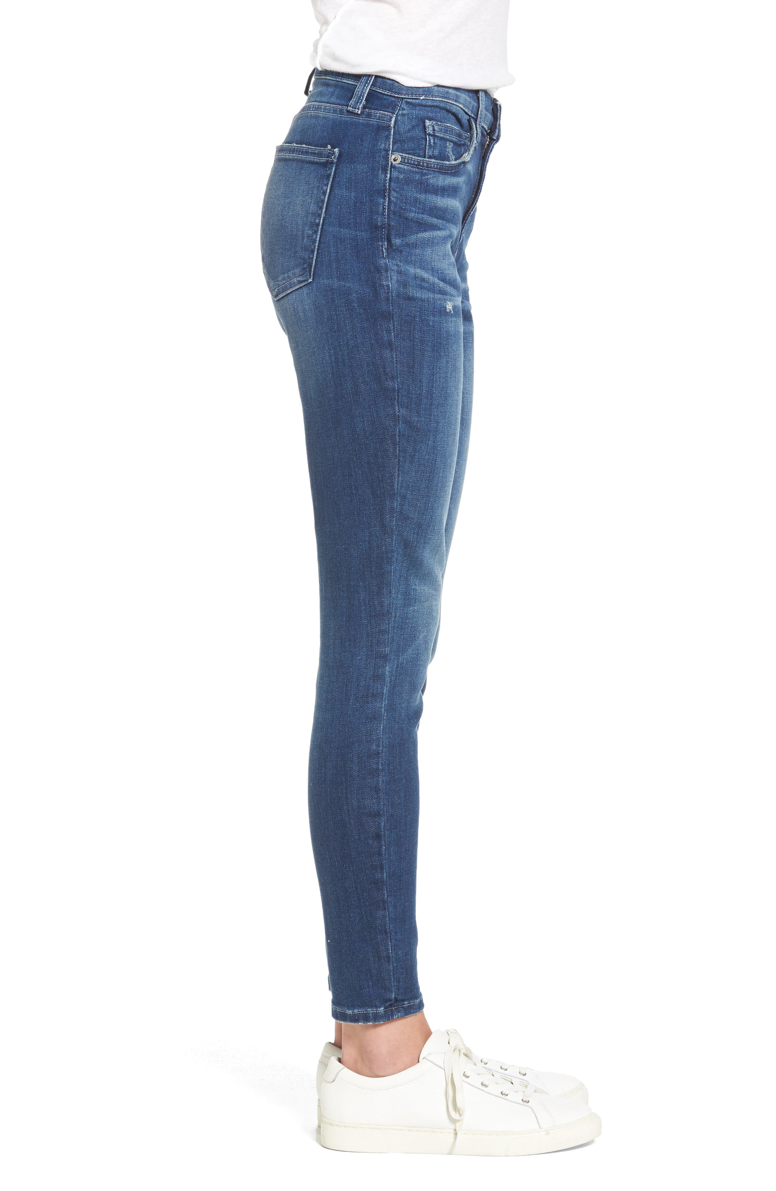 The Stiletto High Waist Skinny Jeans,                             Alternate thumbnail 3, color,                             Sahara Destroy
