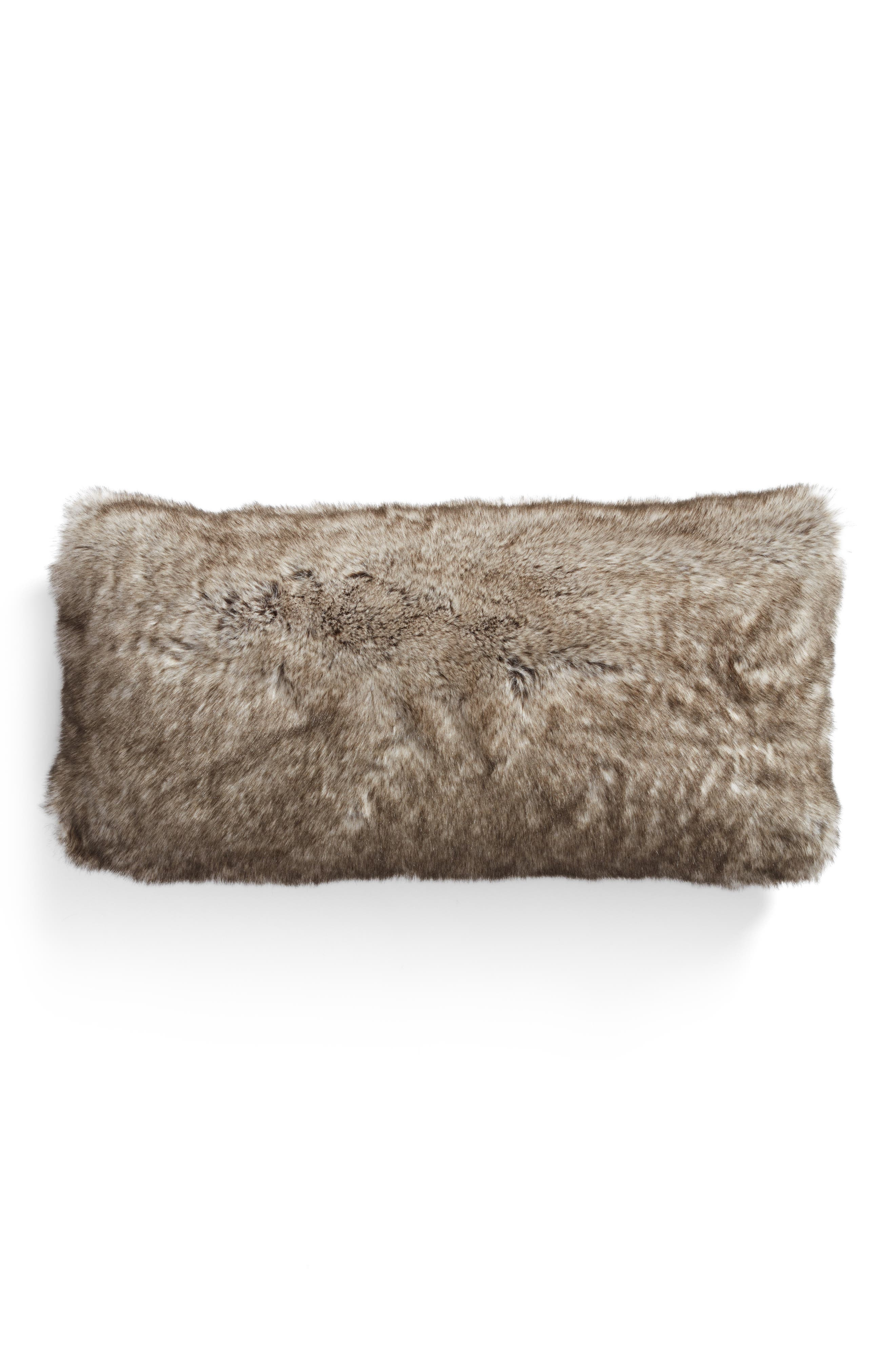 Cuddle Up Faux Fur Accent Pillow,                             Alternate thumbnail 2, color,                             New Natural Tipped