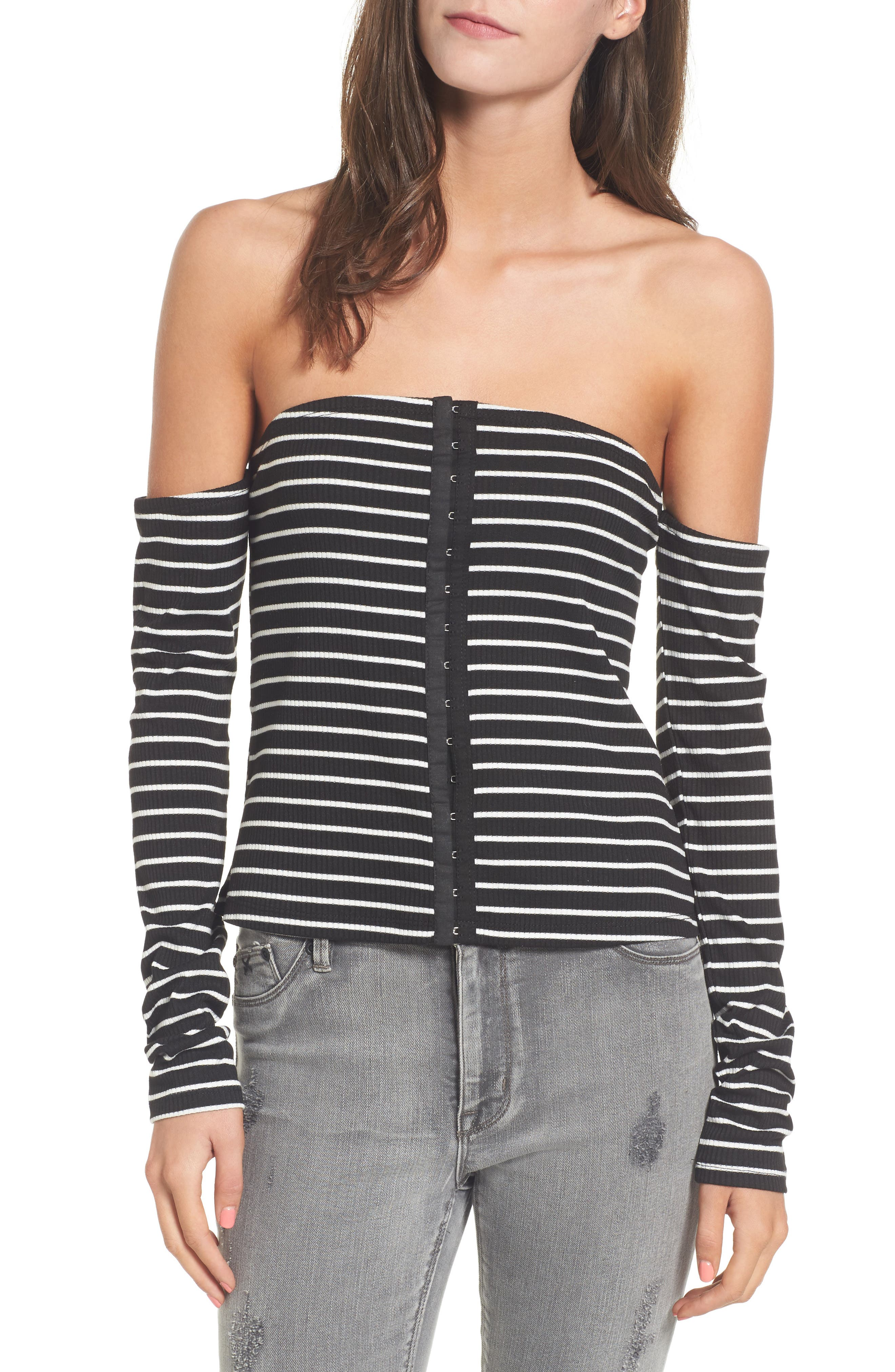 Main Image - Mimi Chica Stripe Off the Shoulder Top
