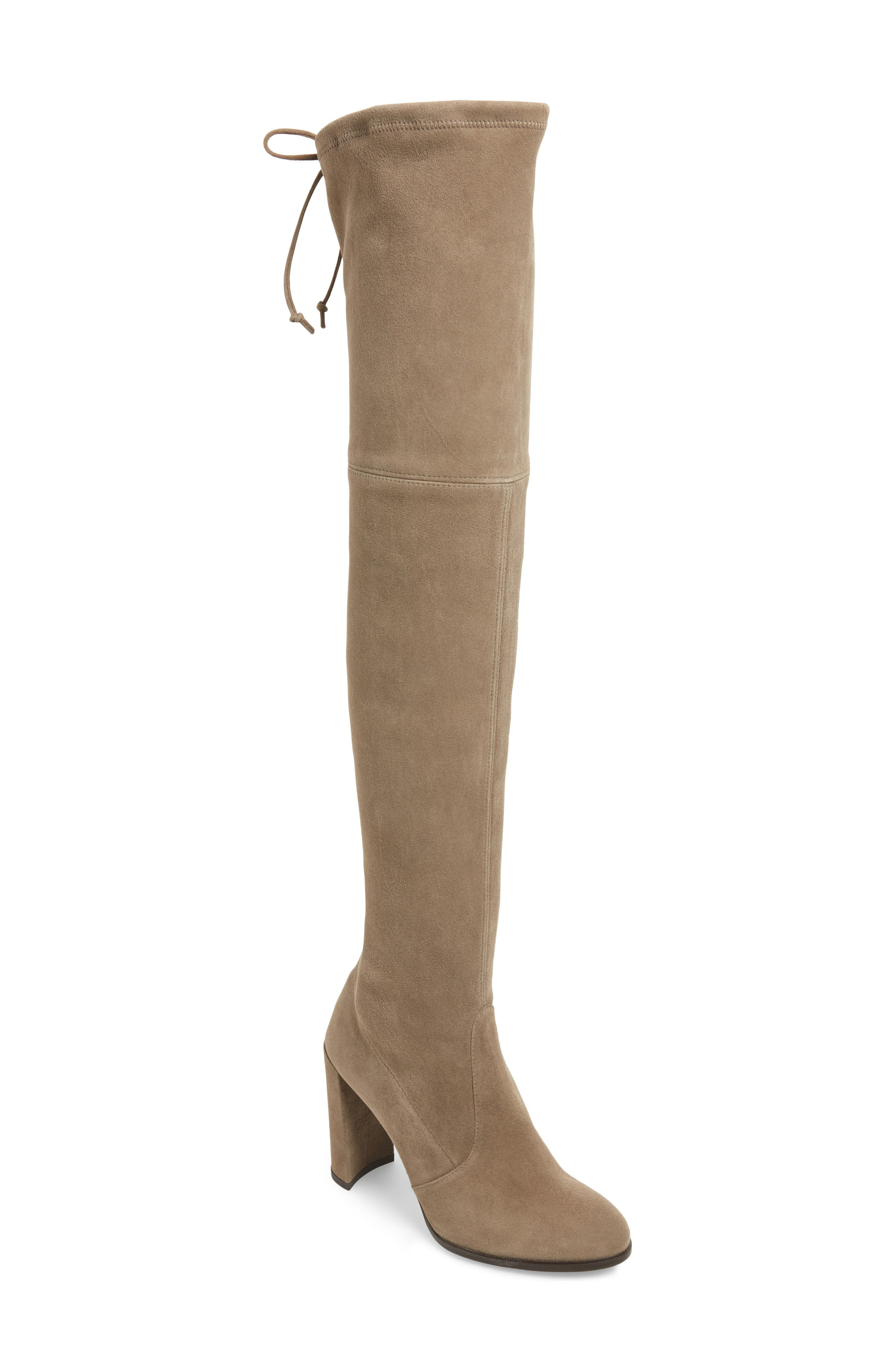 Hiline Over the Knee Boot,                             Main thumbnail 1, color,                             Praline Suede