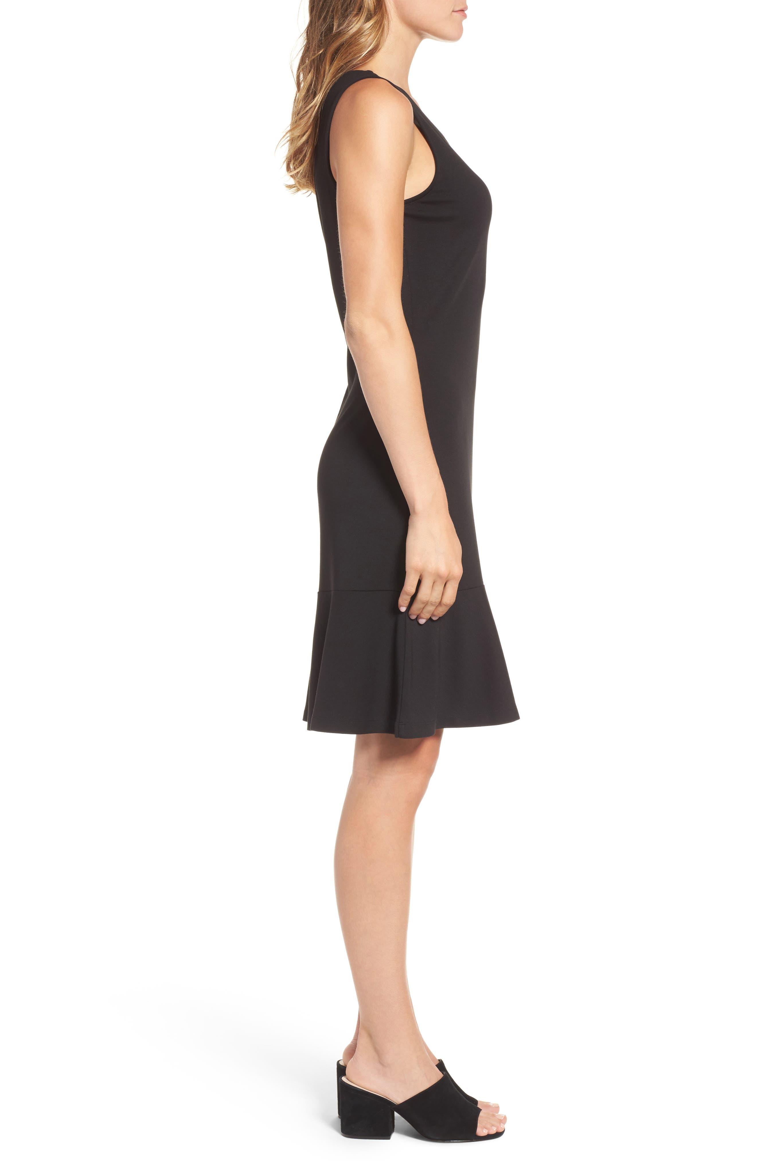 Ponte Knit A-Line Dress,                             Alternate thumbnail 3, color,                             Black