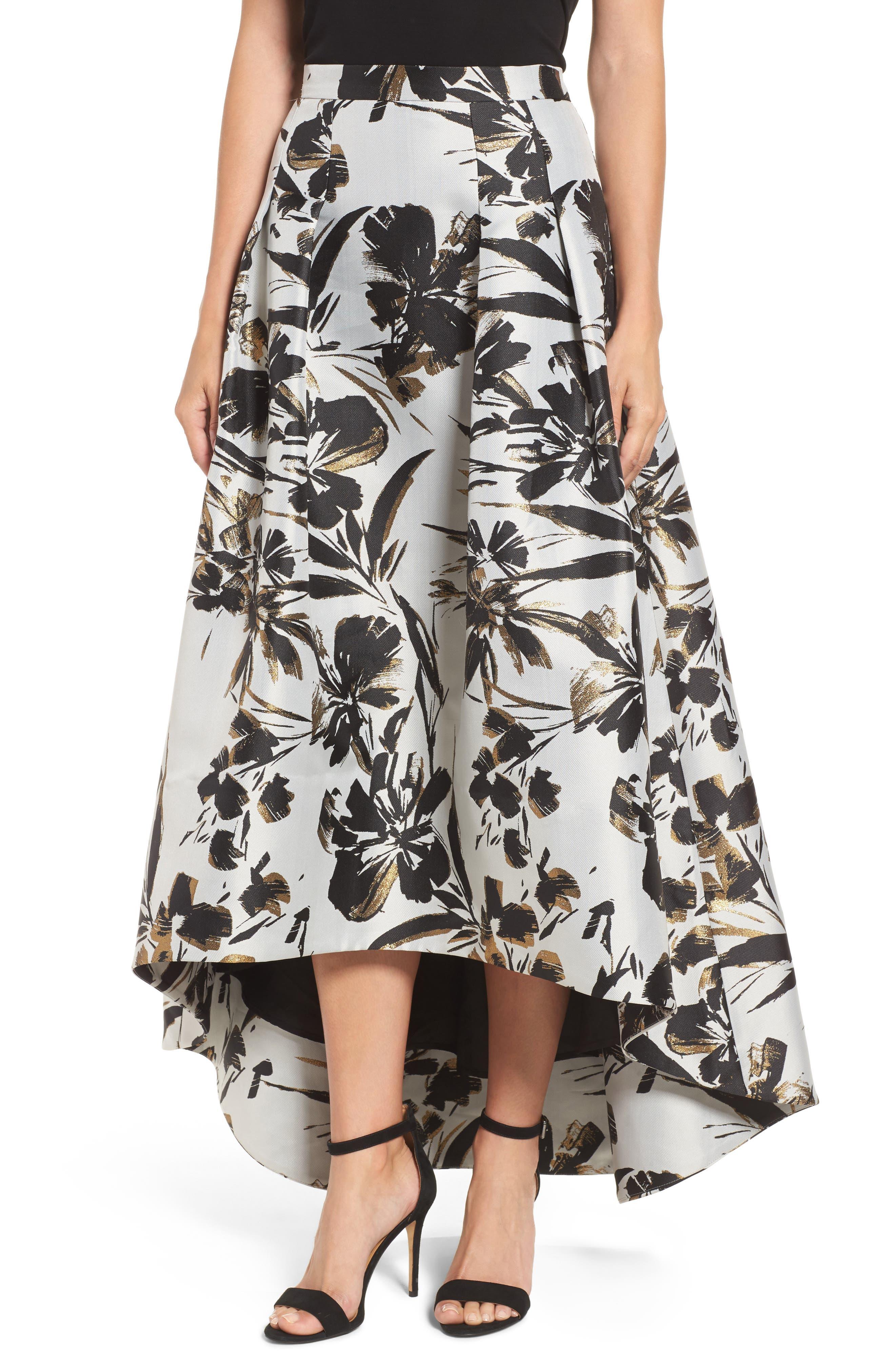 Eliza J Metallic Floral High/Low Skirt