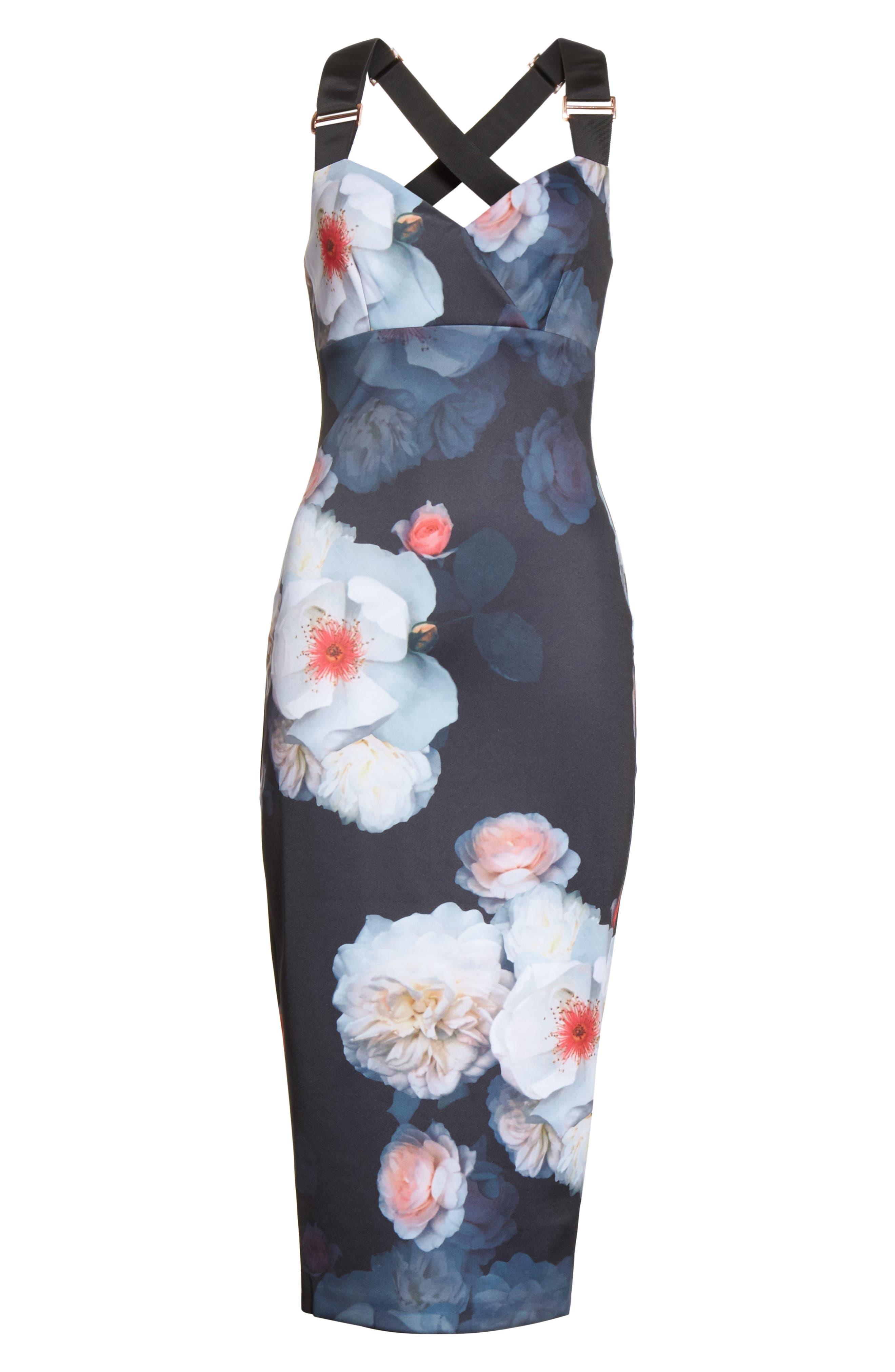 Teeki Chelsea Body-Con Dress,                             Alternate thumbnail 6, color,                             Black