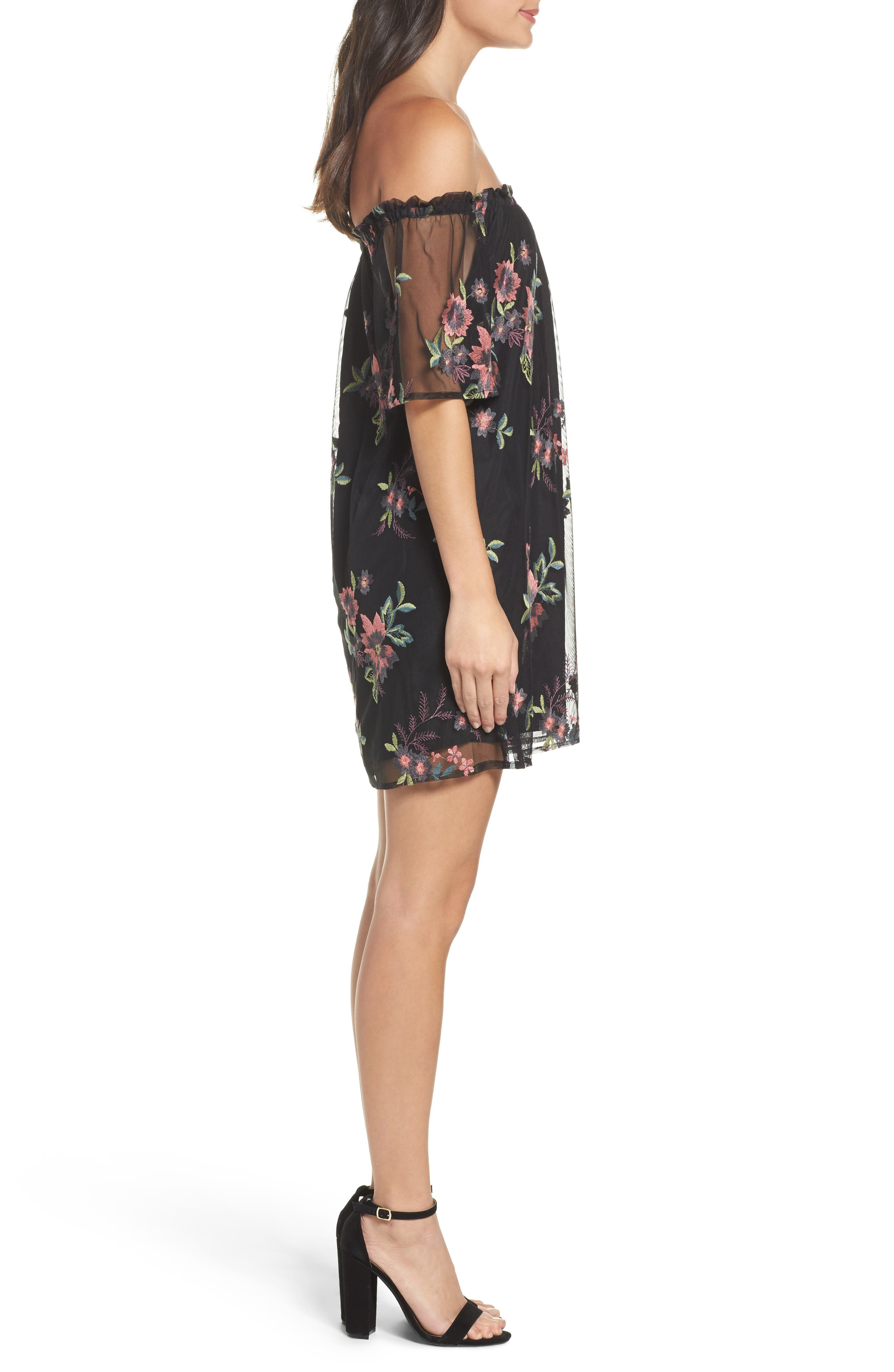 Lacole Embroidered Mesh Shift Dress,                             Alternate thumbnail 3, color,                             Black