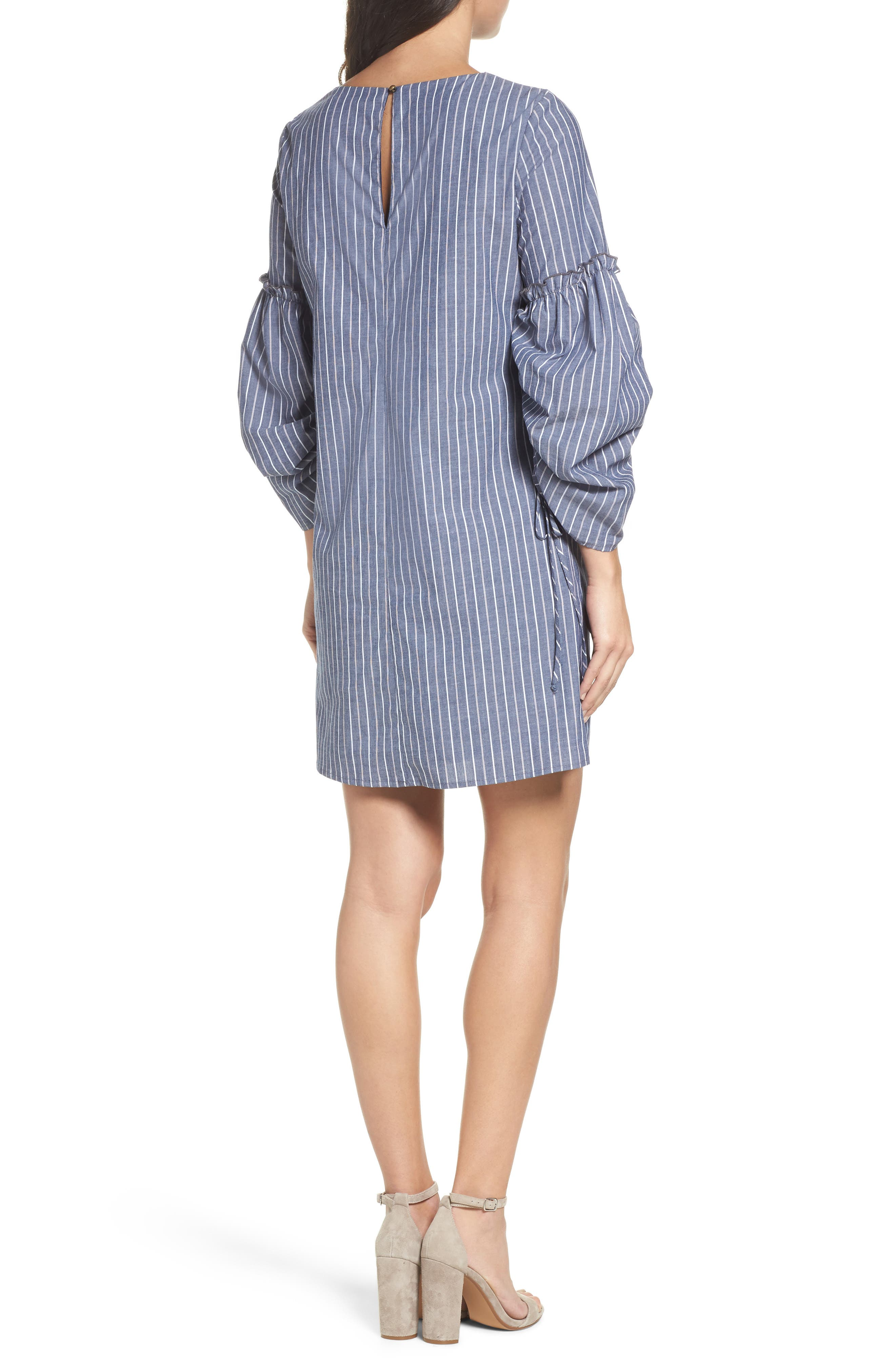 Ruched Sleeve Poplin Shift Dress,                             Alternate thumbnail 2, color,                             Navy Stripe