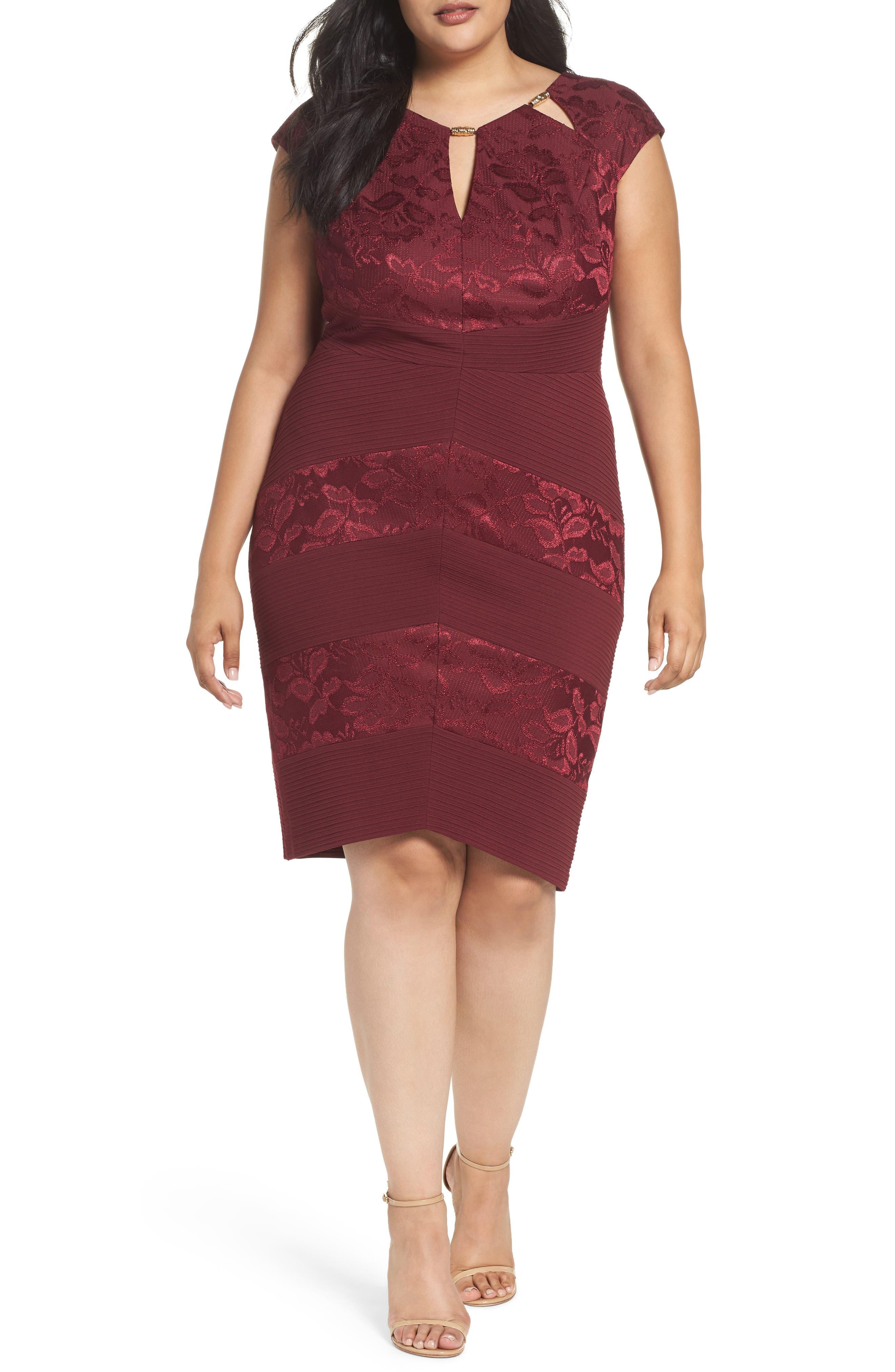Alternate Image 1 Selected - Sangria Cutout Neck Sheath Dress (Plus Size)