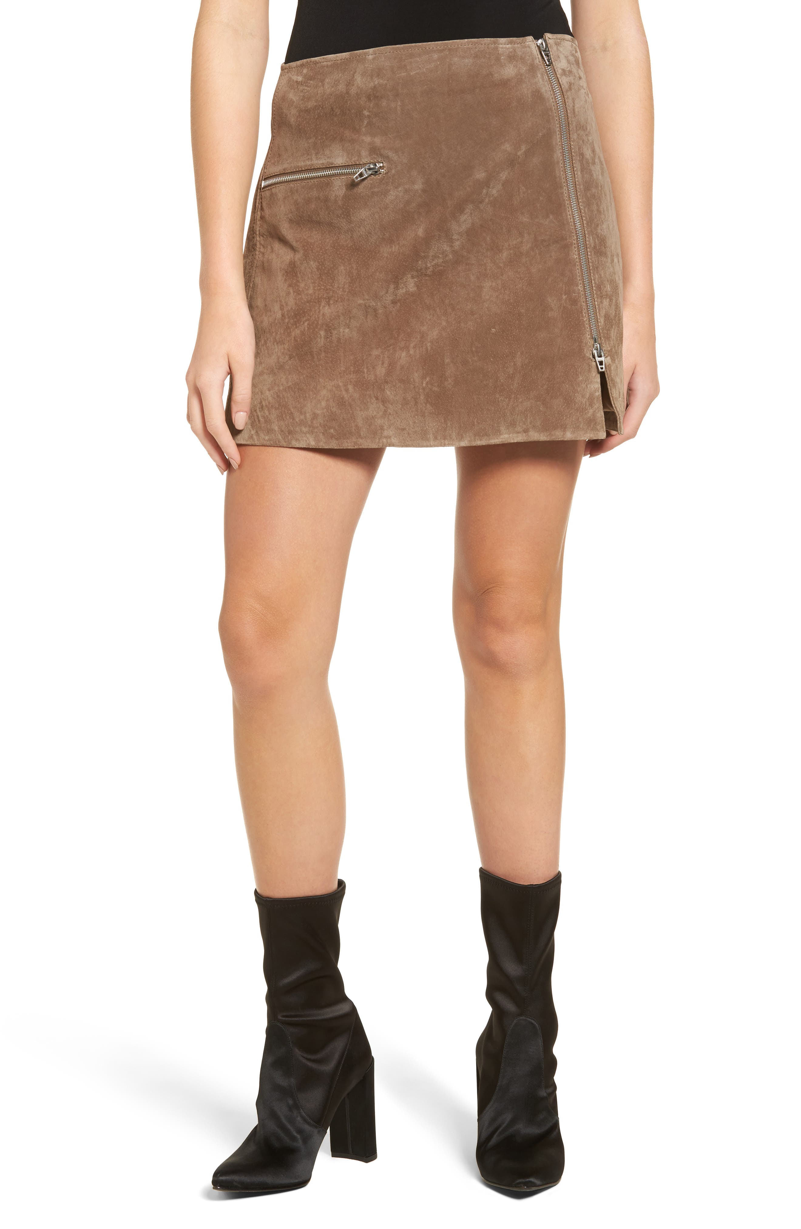 Suede Miniskirt,                         Main,                         color, Midnight Toker