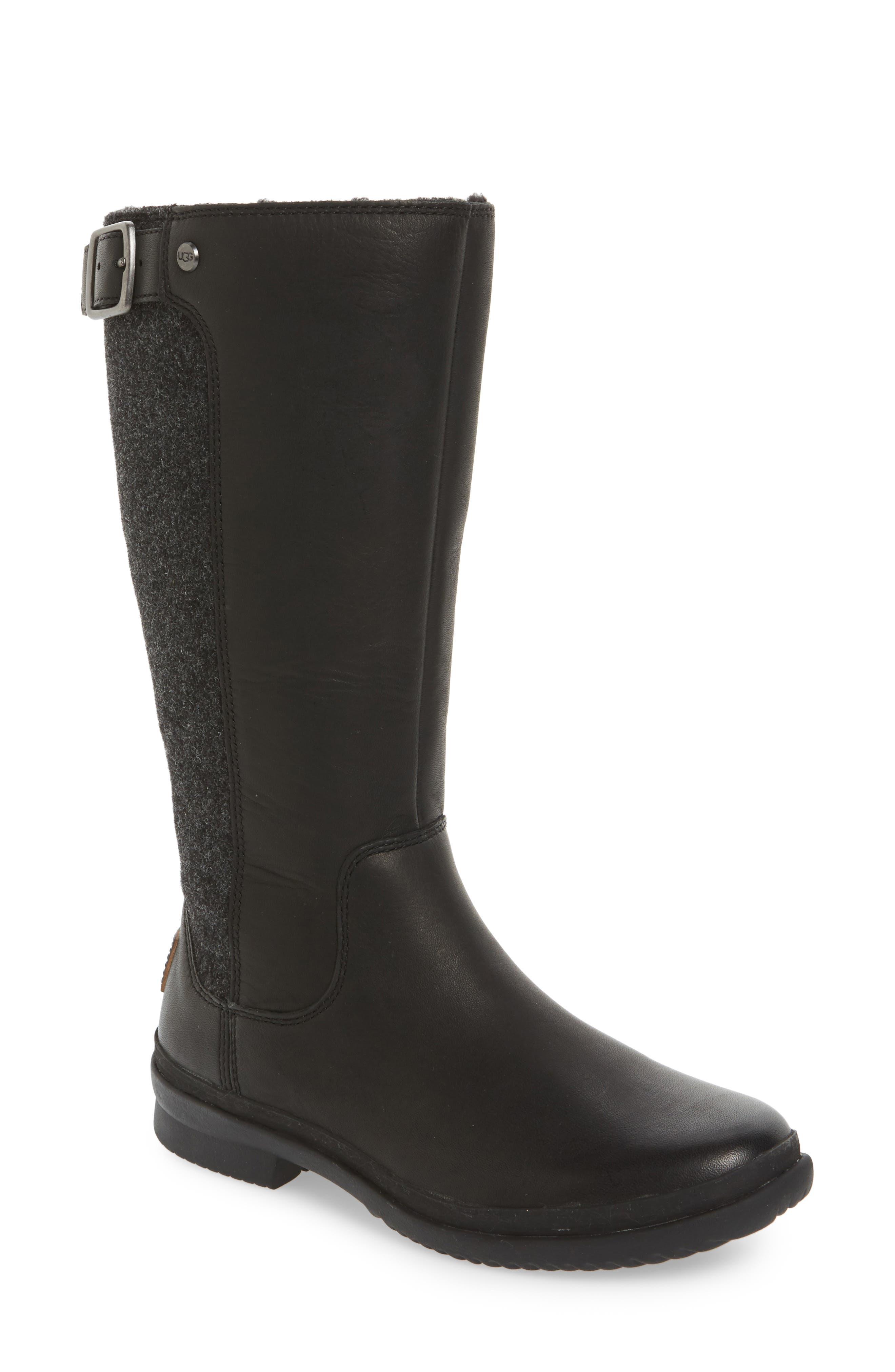 Janina Rain Boot,                         Main,                         color, Black Leather