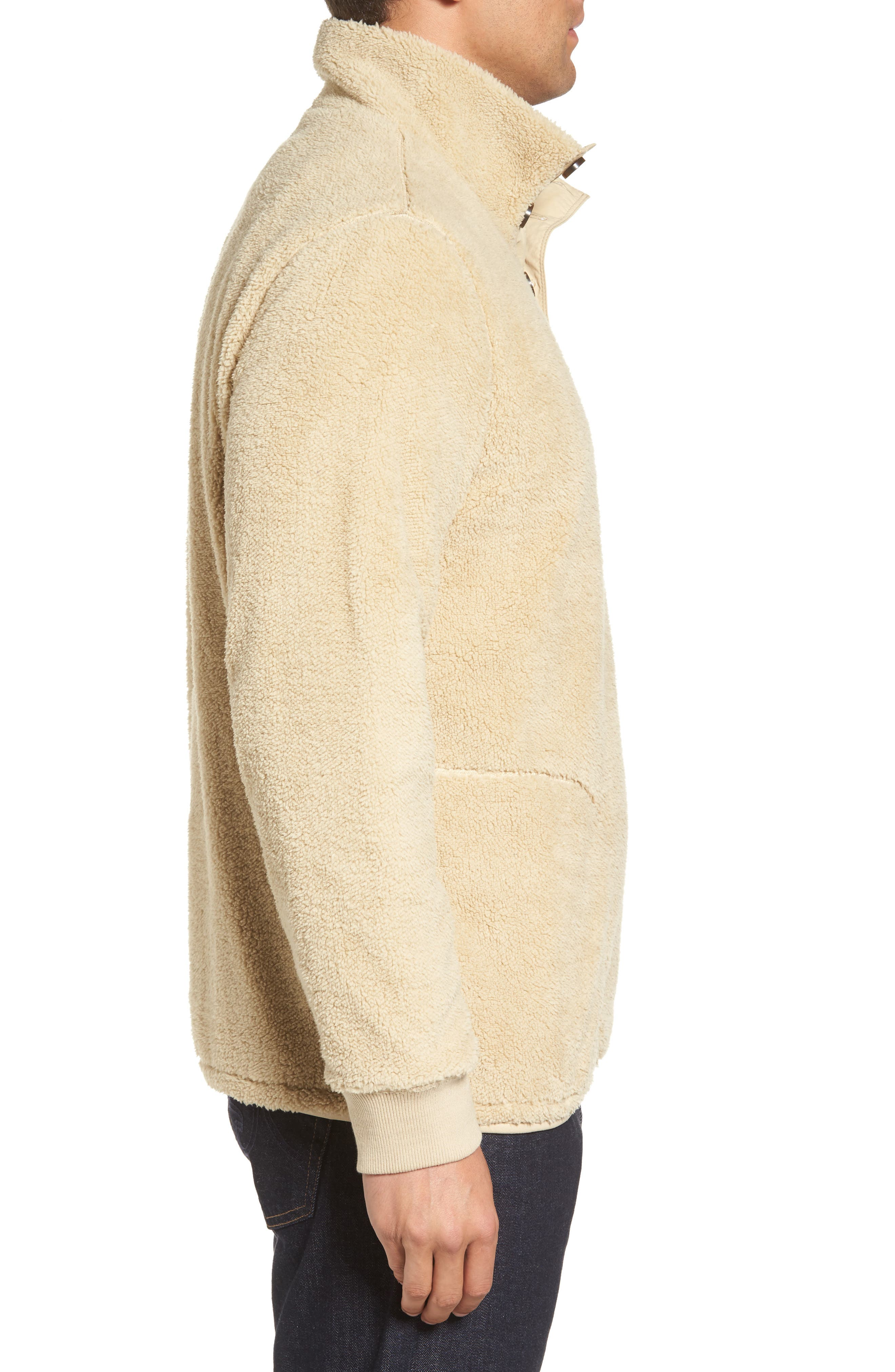 Fuzzy Faux Shearling Pullover,                             Alternate thumbnail 3, color,                             Sand