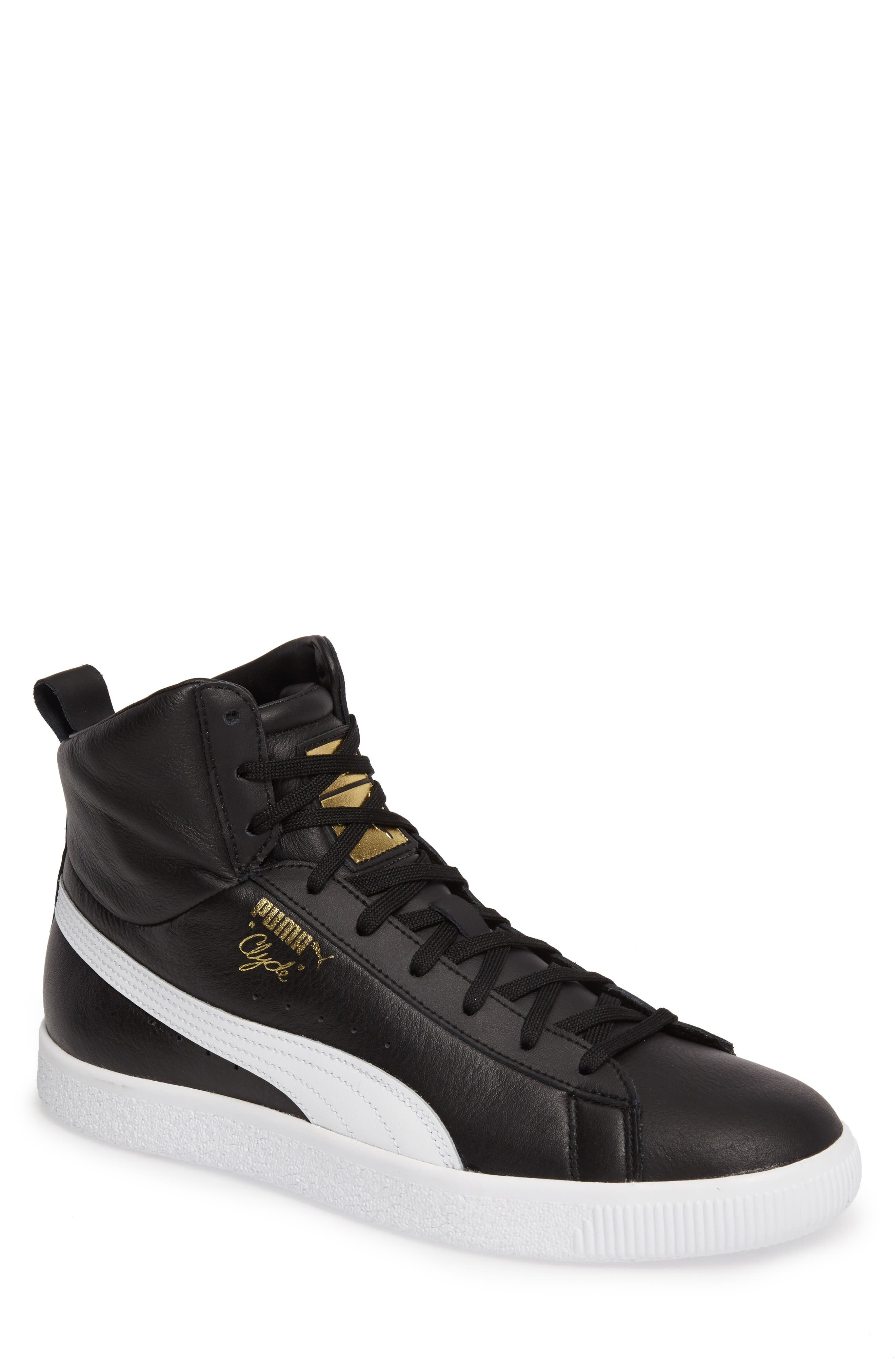 Clyde Mid Sneaker,                         Main,                         color, Black/ White