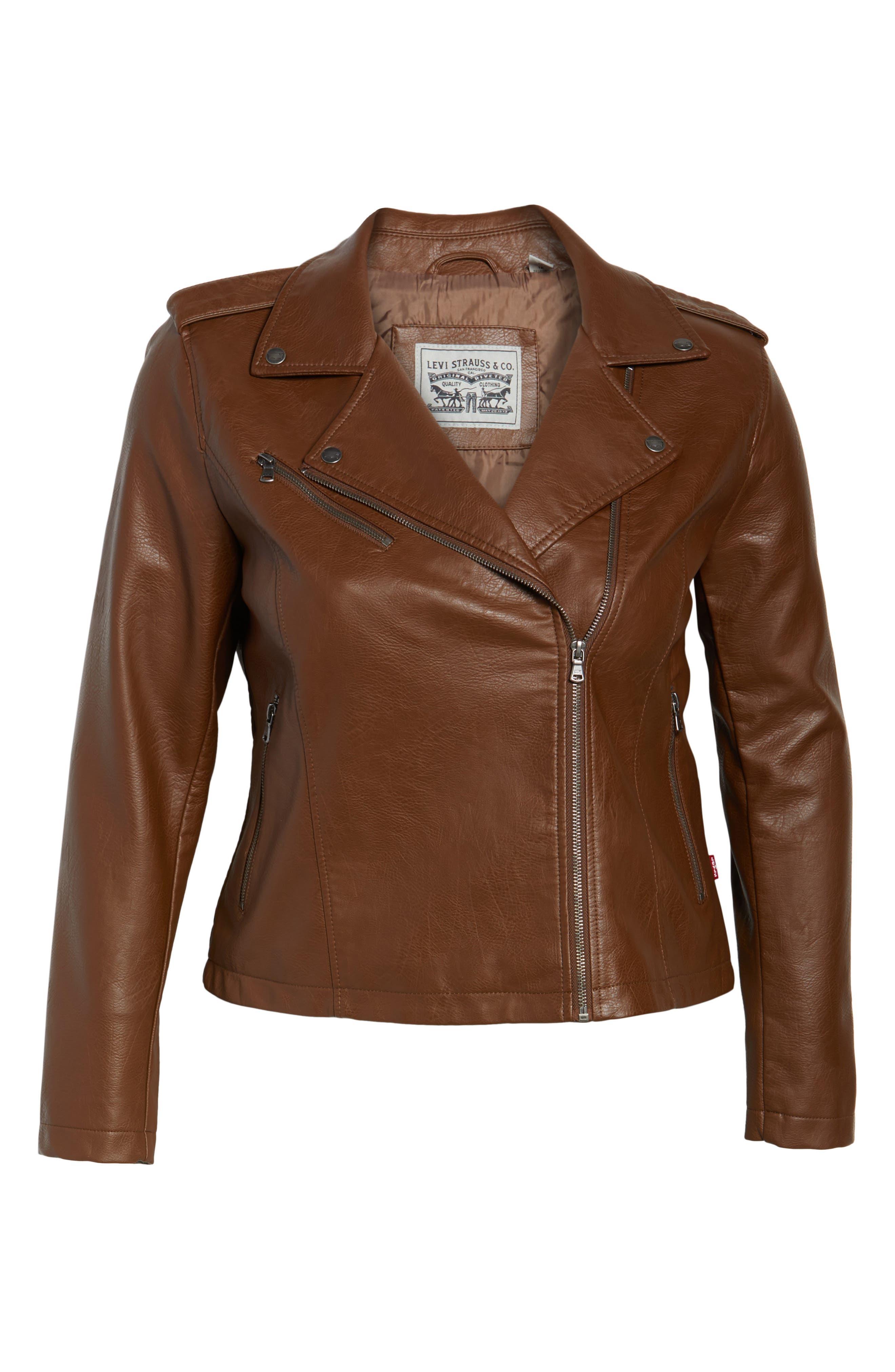 Faux Leather Jacket,                             Alternate thumbnail 5, color,                             Cognac