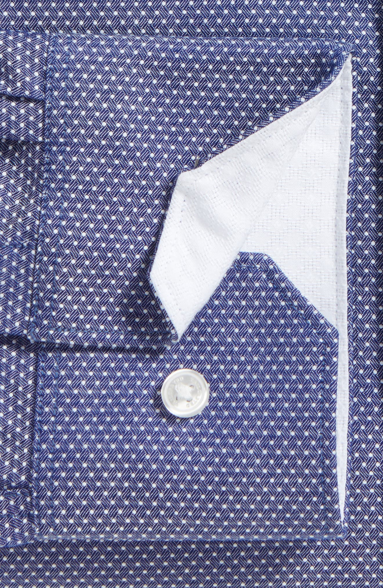 Eden Isle Trim Fit Non-Iron Geometric Dress Shirt,                             Alternate thumbnail 2, color,                             Navy