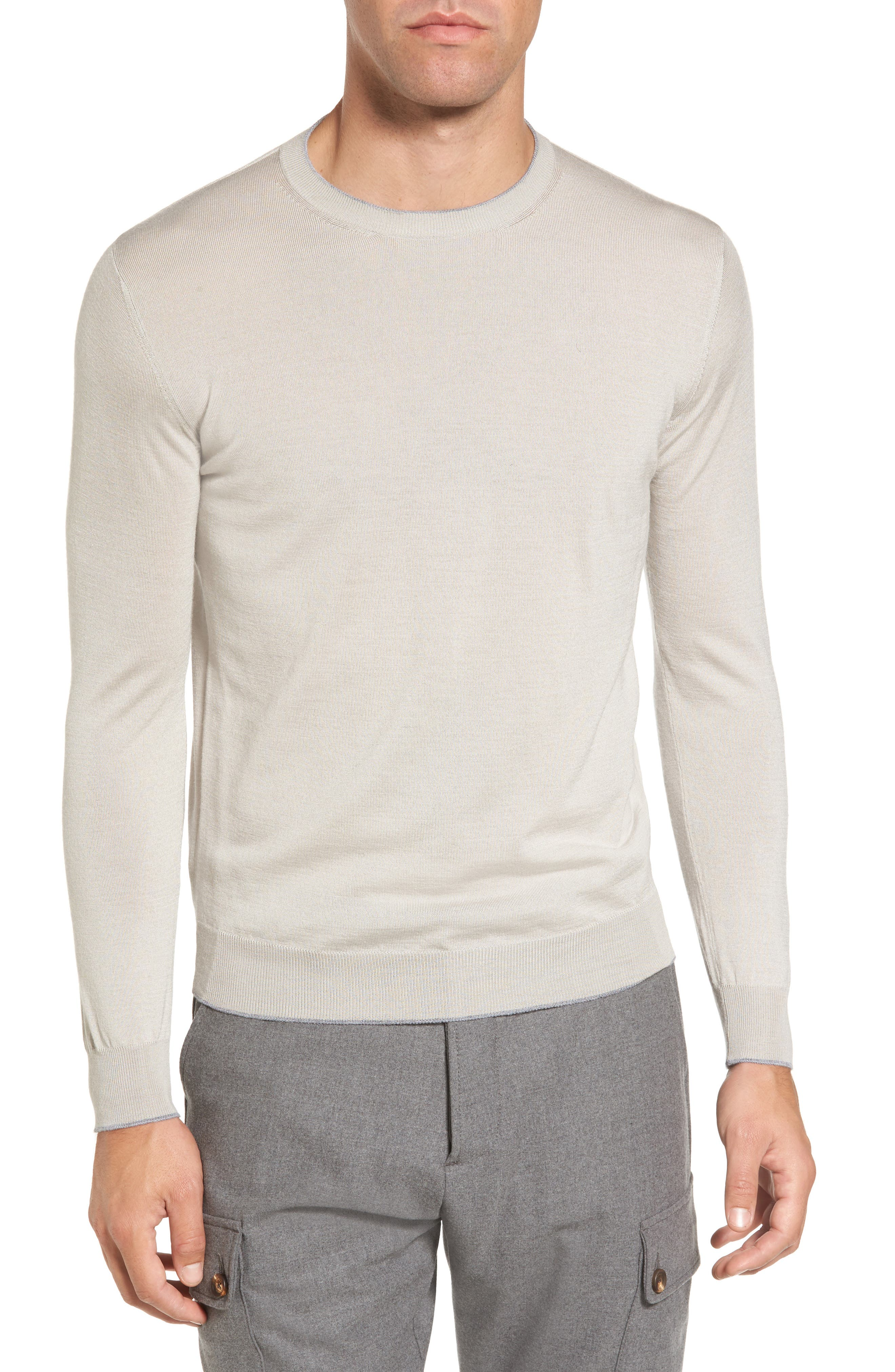 Main Image - Eleventy Merino Wool & Silk Tipped Sweater