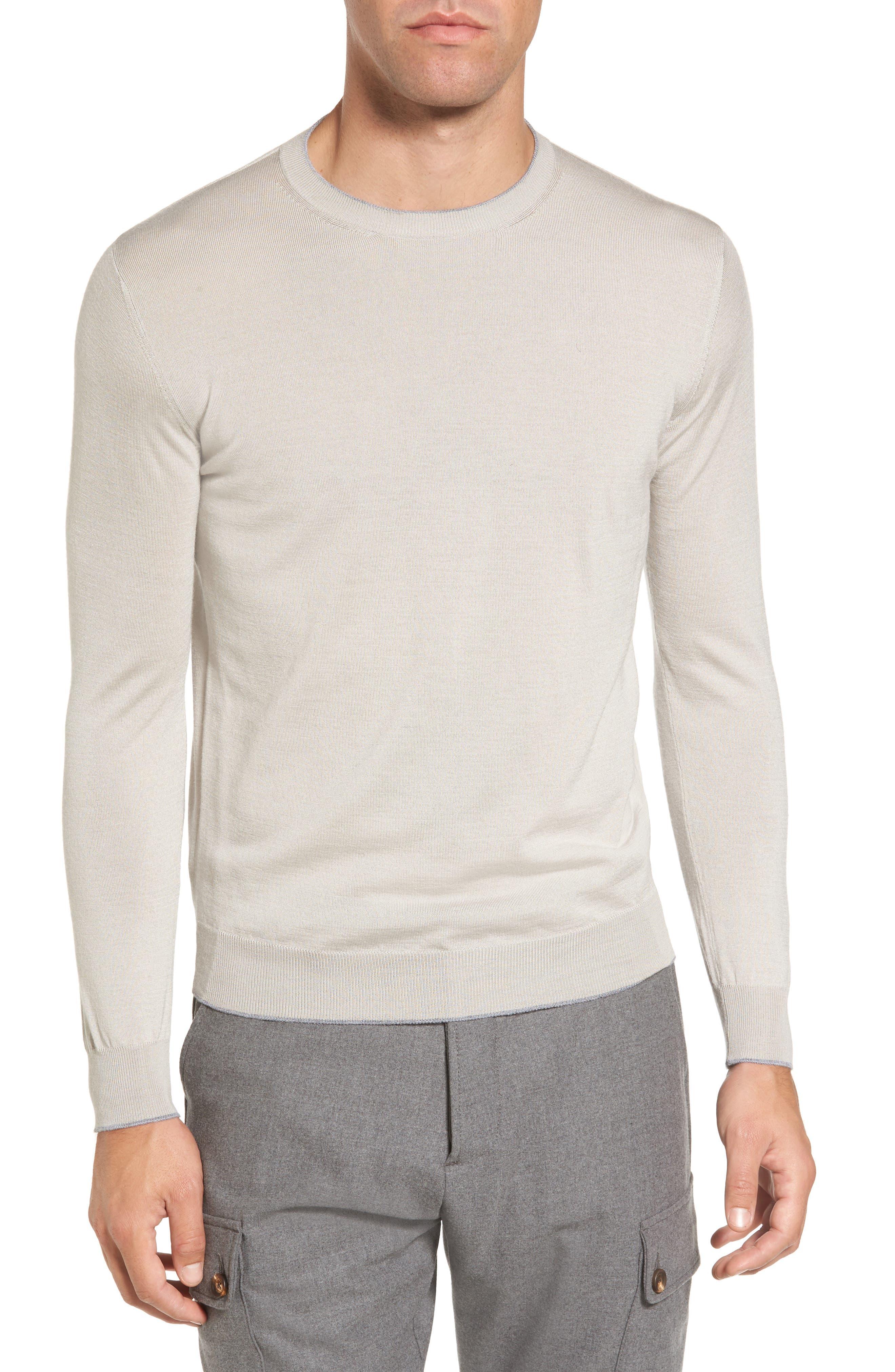 Merino Wool & Silk Tipped Sweater,                         Main,                         color, Sand