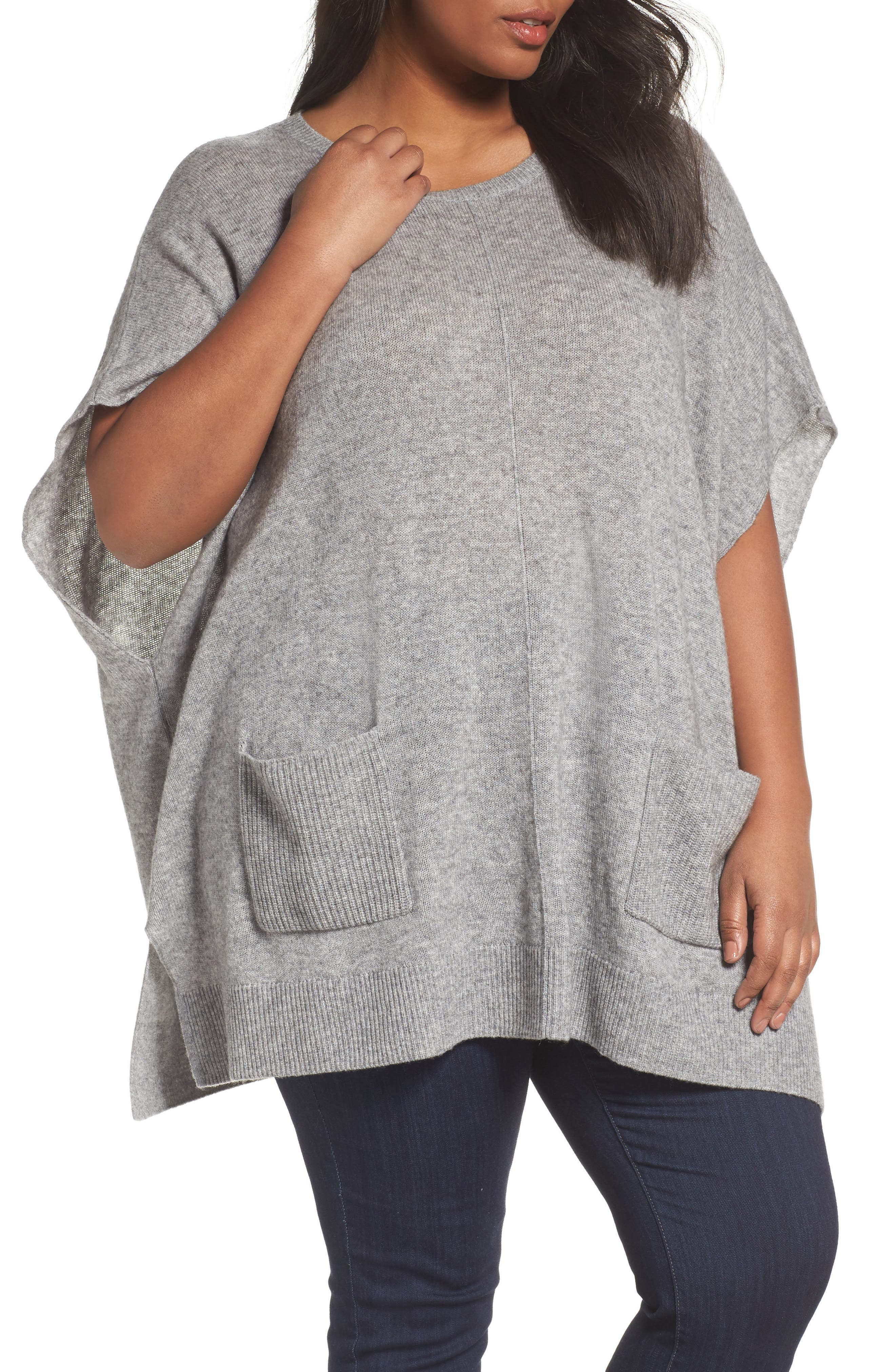 Alternate Image 1 Selected - Sejour Ribbed Pocket Poncho (Plus Size)
