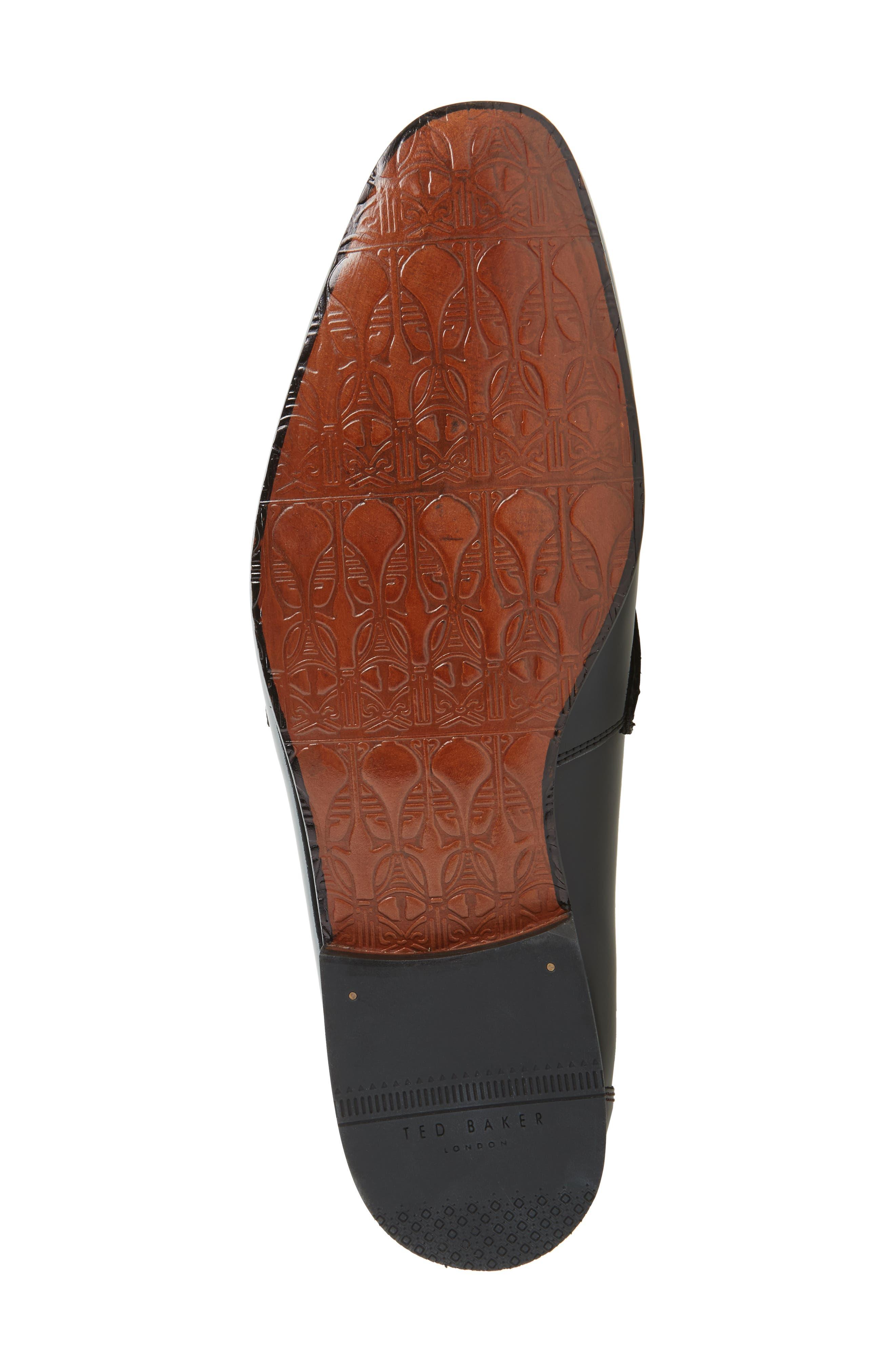 Grafit Tassel Loafer,                             Alternate thumbnail 6, color,                             Black Patent Leather