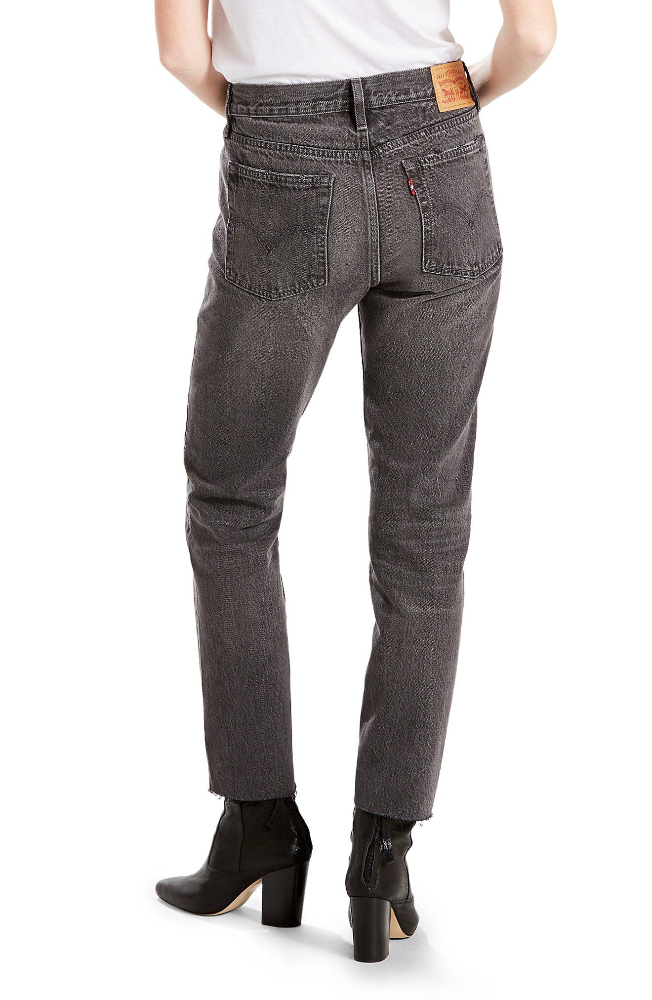 Alternate Image 2  - Levi's® Wedgie Icon Distressed Straight Leg Jeans (Grey Tumble)