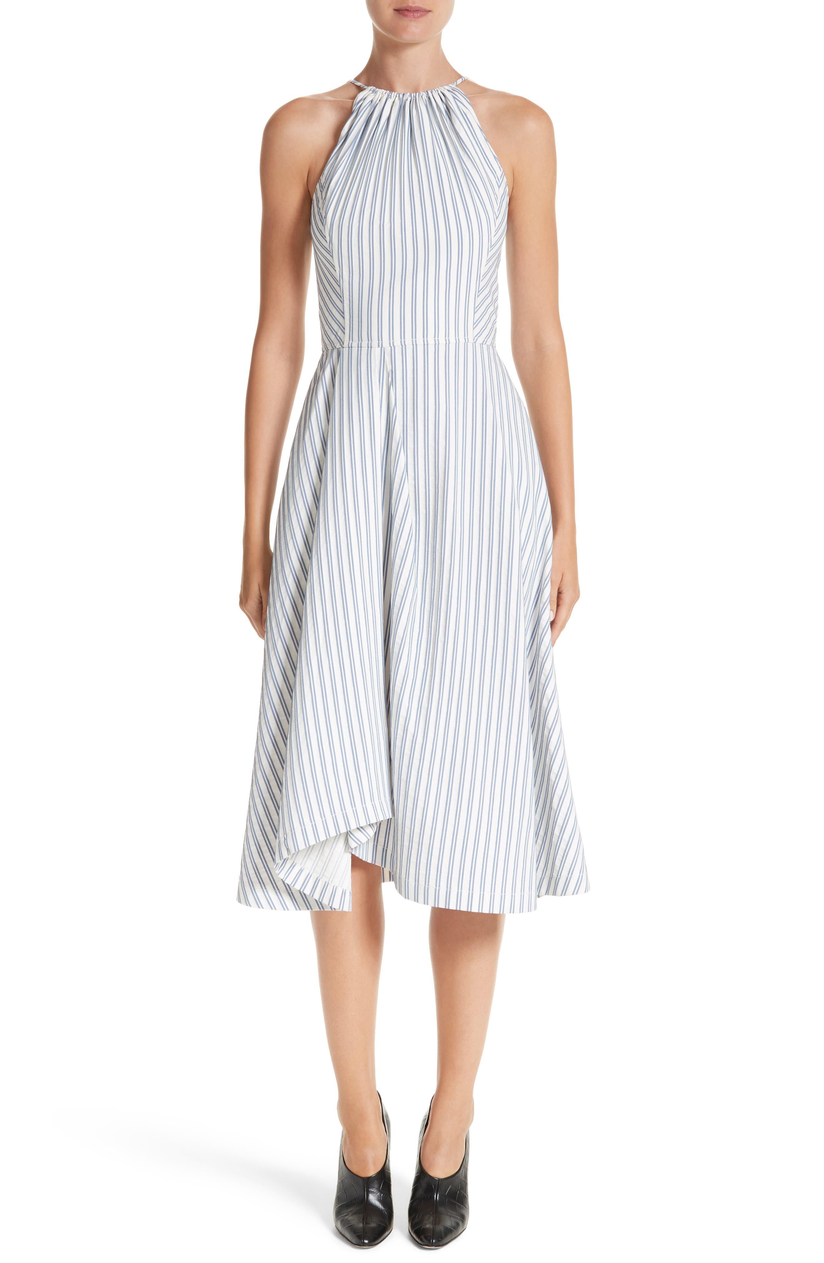 Stripe Shirting Apron Day Dress,                         Main,                         color, Blue / Chalk