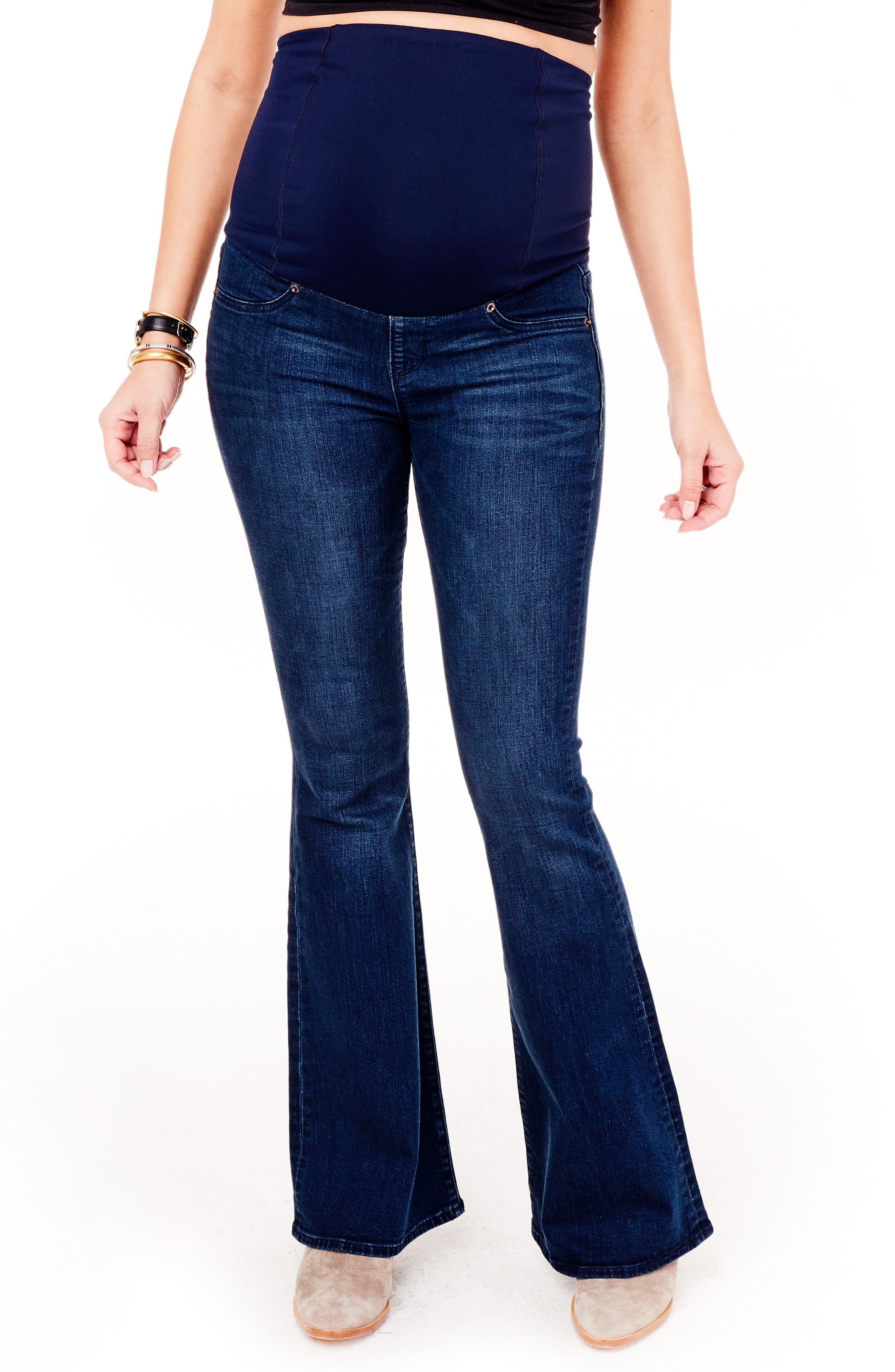 Alternate Image 6  - Ingrid & Isabel® Gracie Flare Maternity Jeans (True Blue)