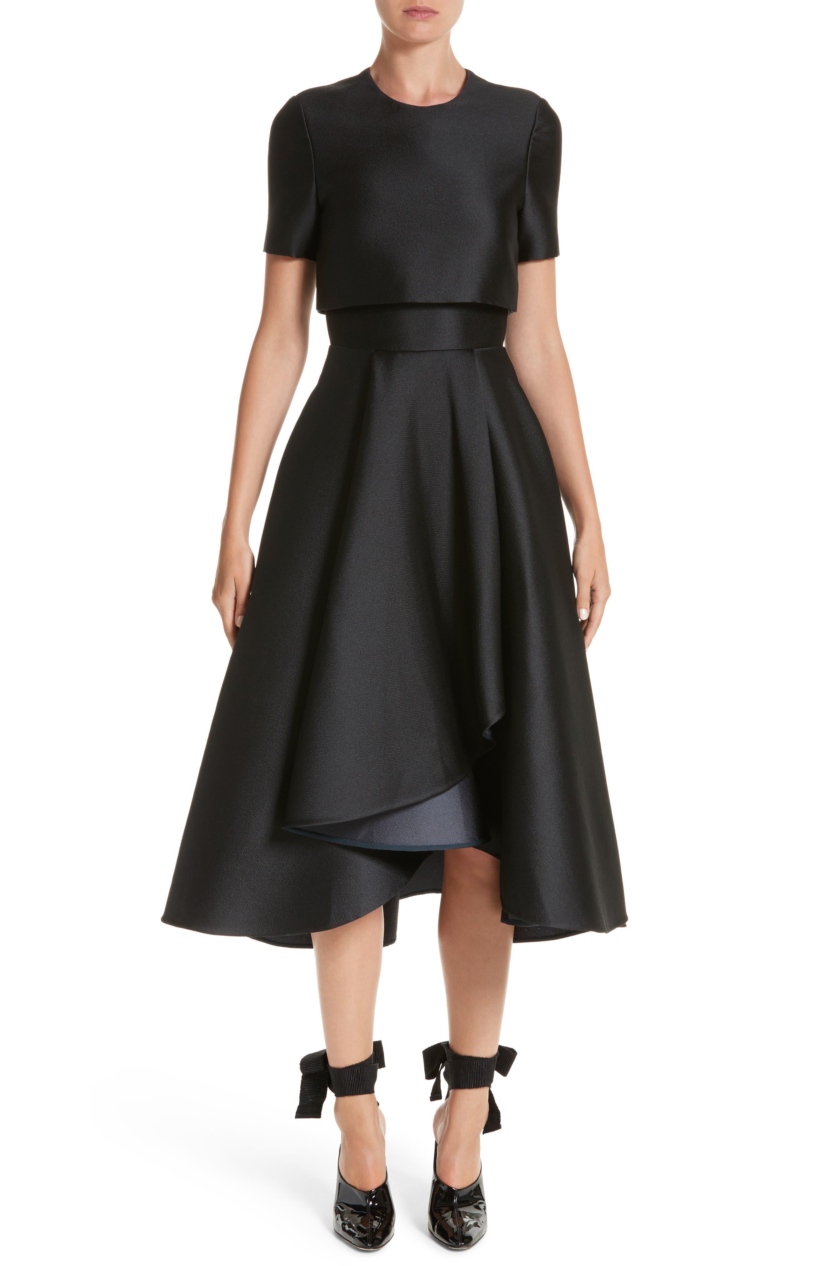 Popover Fit & Flare Dress,                         Main,                         color, Black