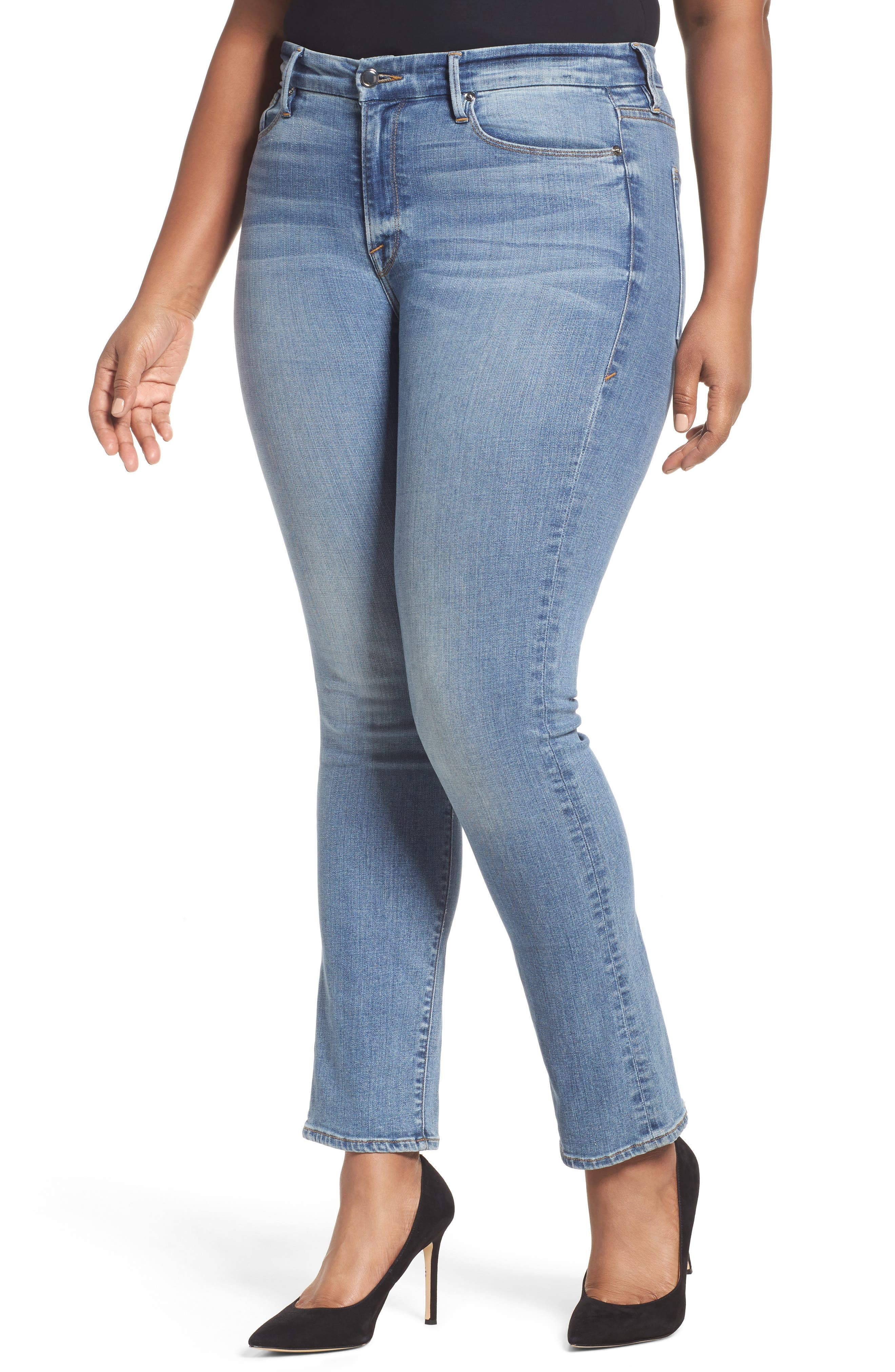Alternate Image 9  - Good American Good Straight High Rise Jeans (Blue 087) (Extended Sizes)