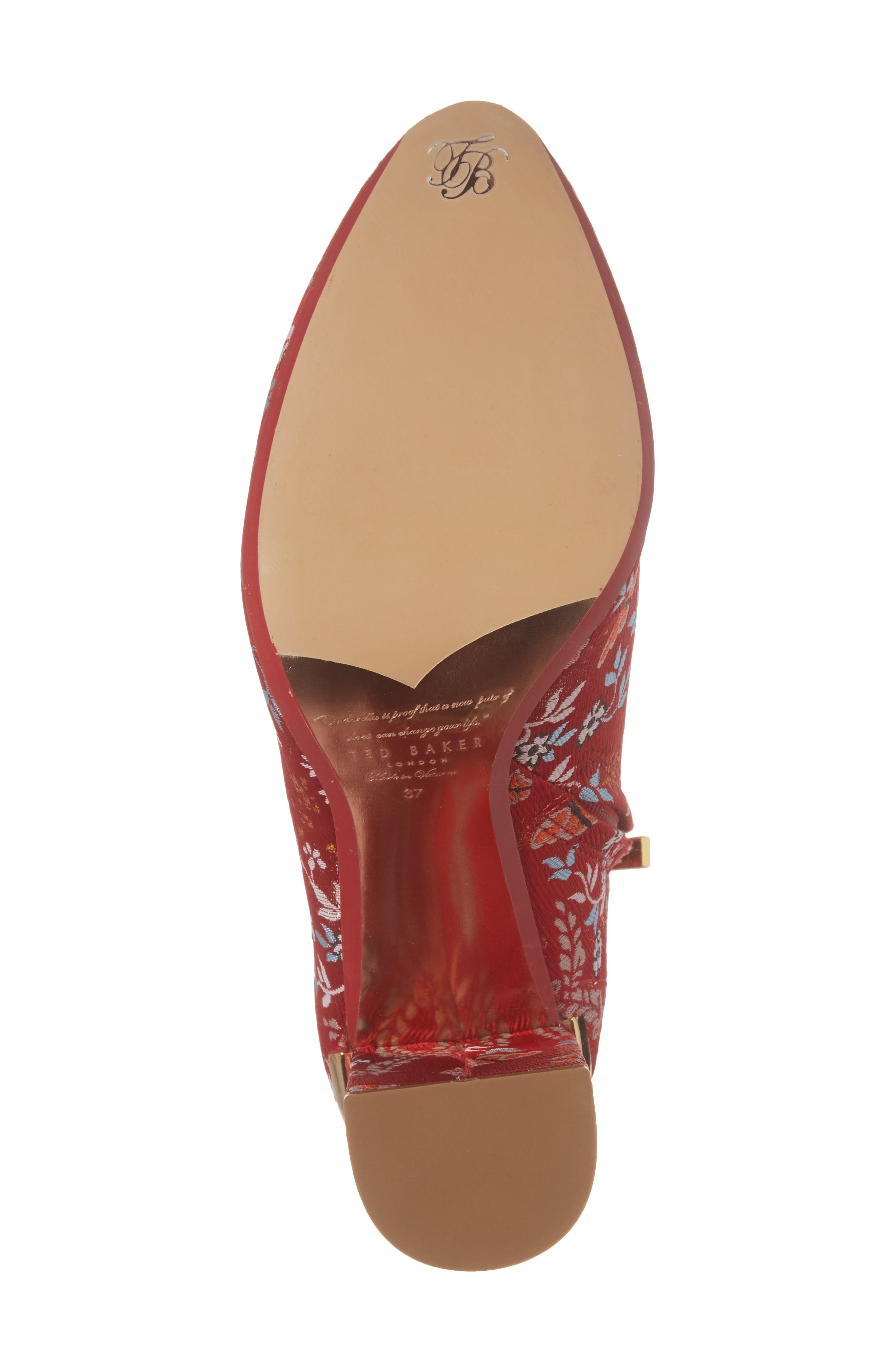 Ishbel Brocade Bootie,                             Alternate thumbnail 6, color,                             Red Kyoto Print