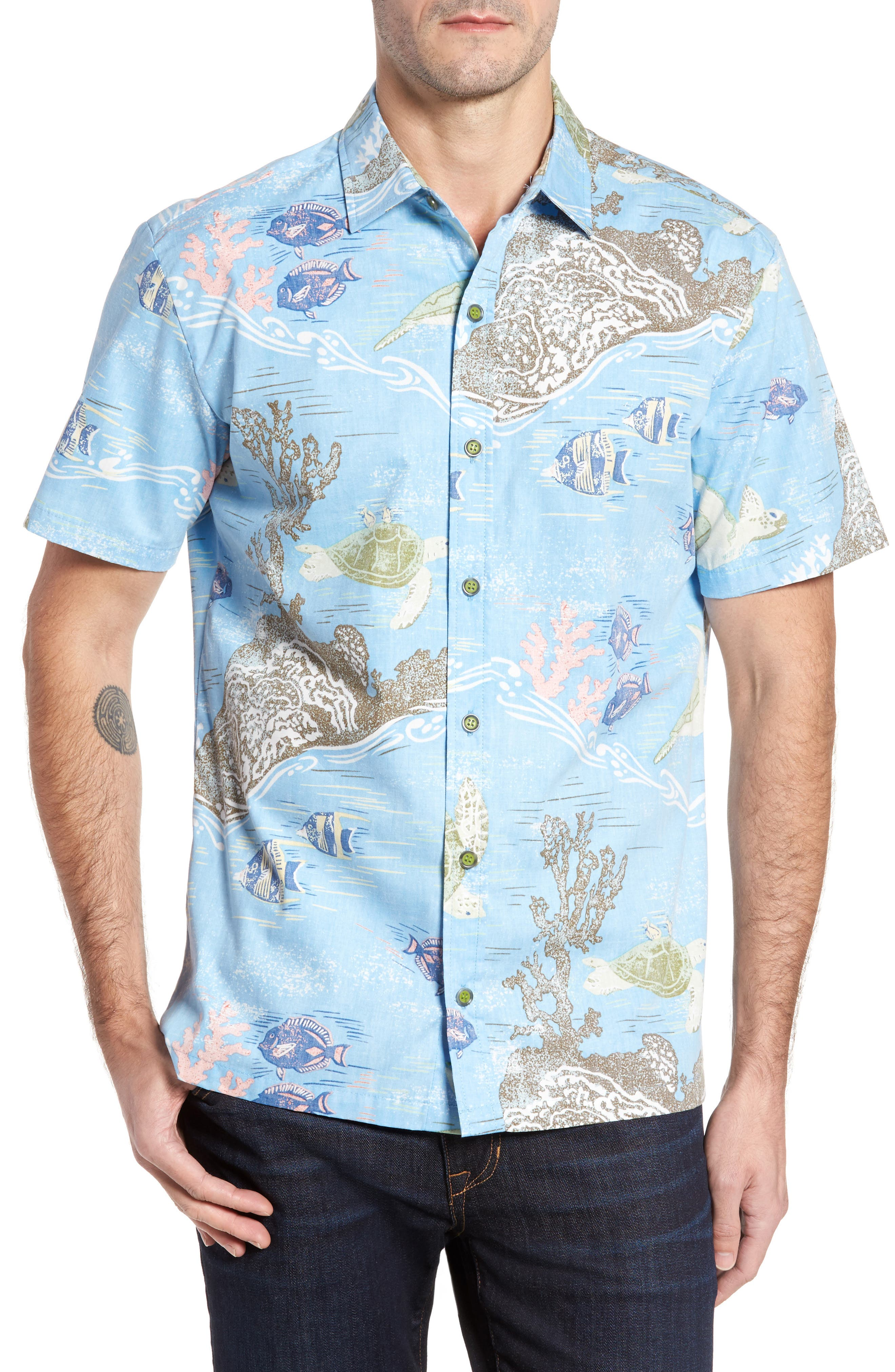 Alternate Image 1 Selected - Kahala Laupapa Slim Fit Camp Shirt