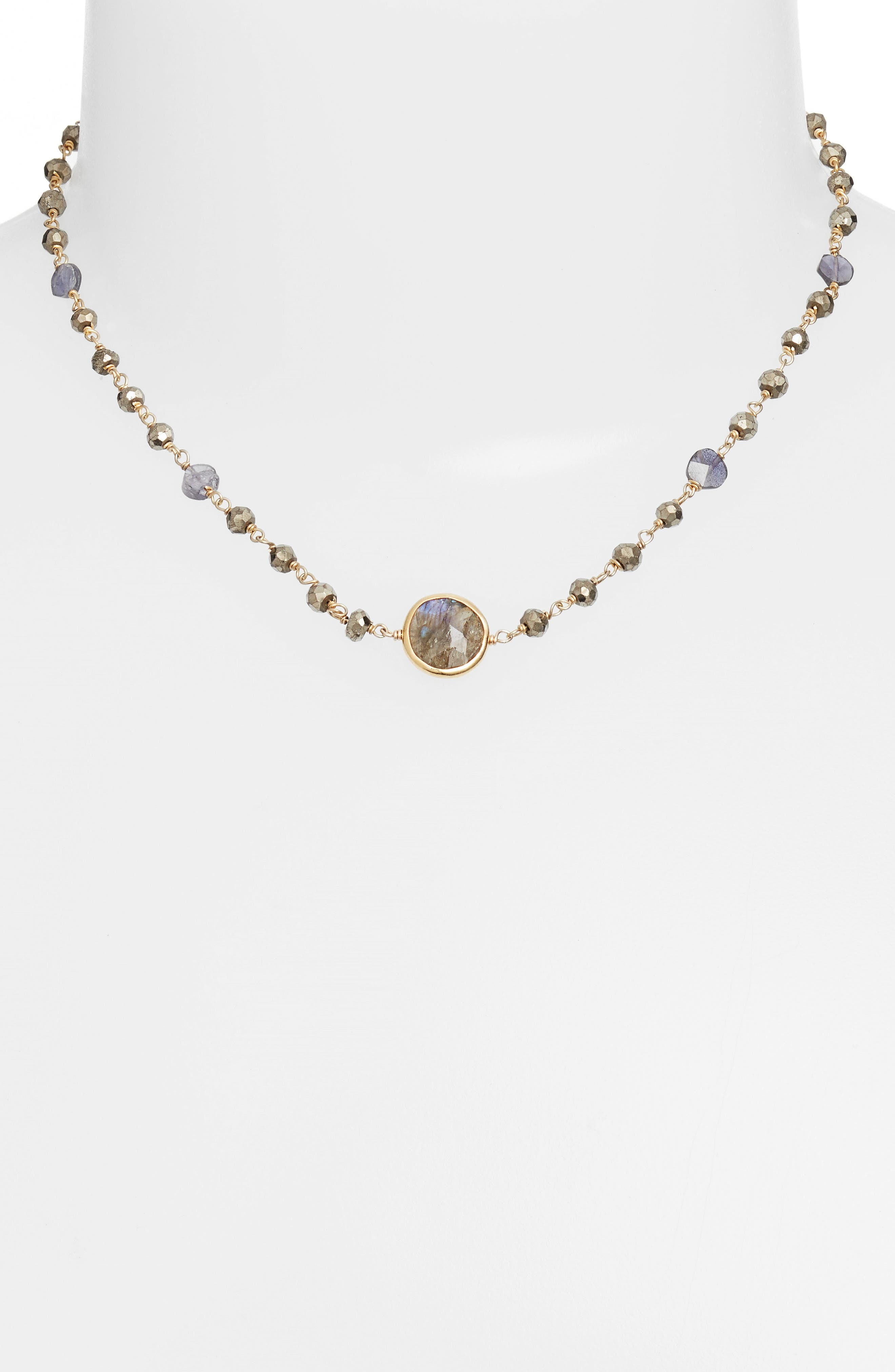 Semiprecious Stone Collar Necklace,                             Alternate thumbnail 2, color,                             Pyrite/ Labradorite