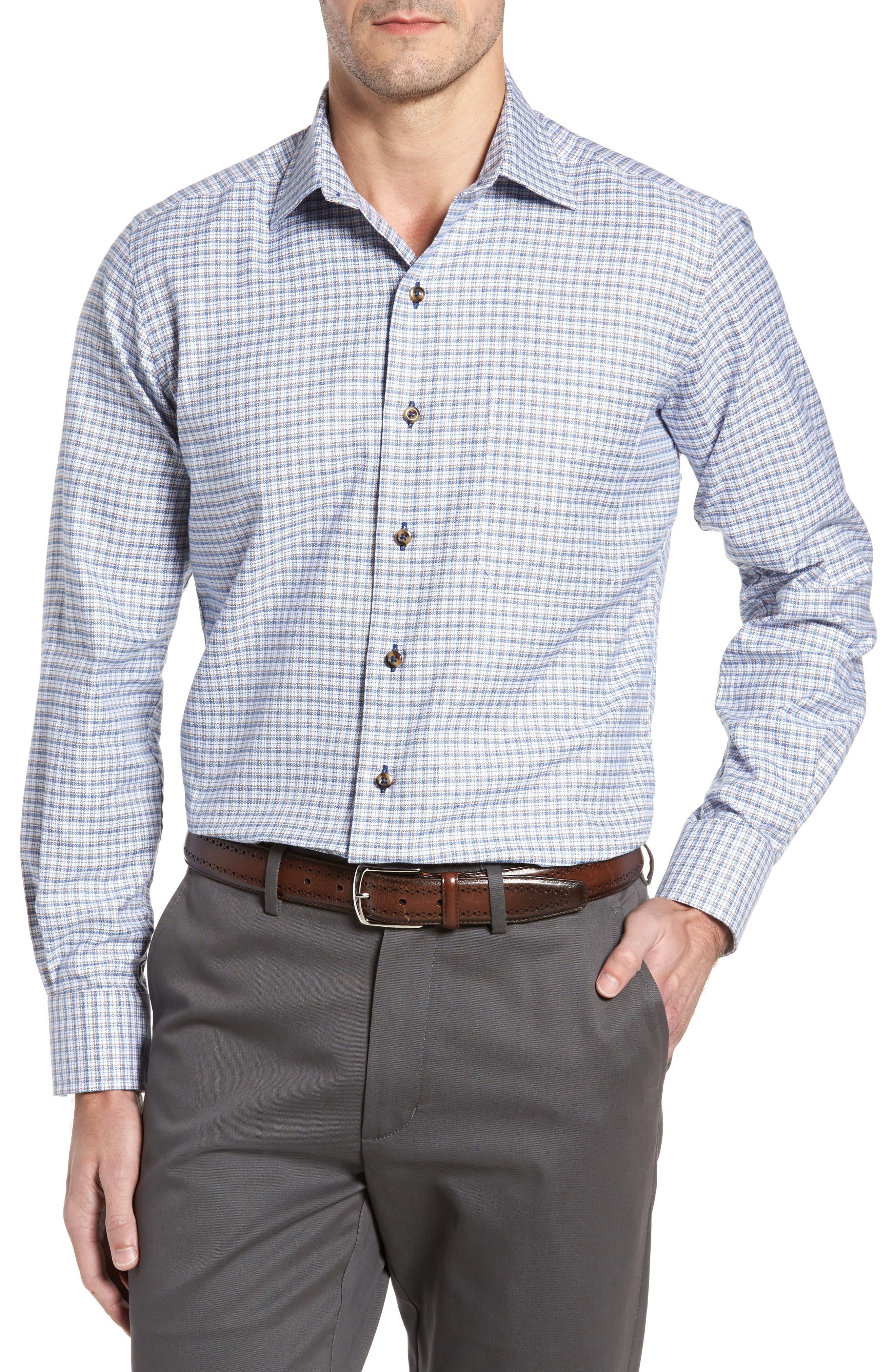 Regular Fit Plaid Sport Shirt,                         Main,                         color, Blue