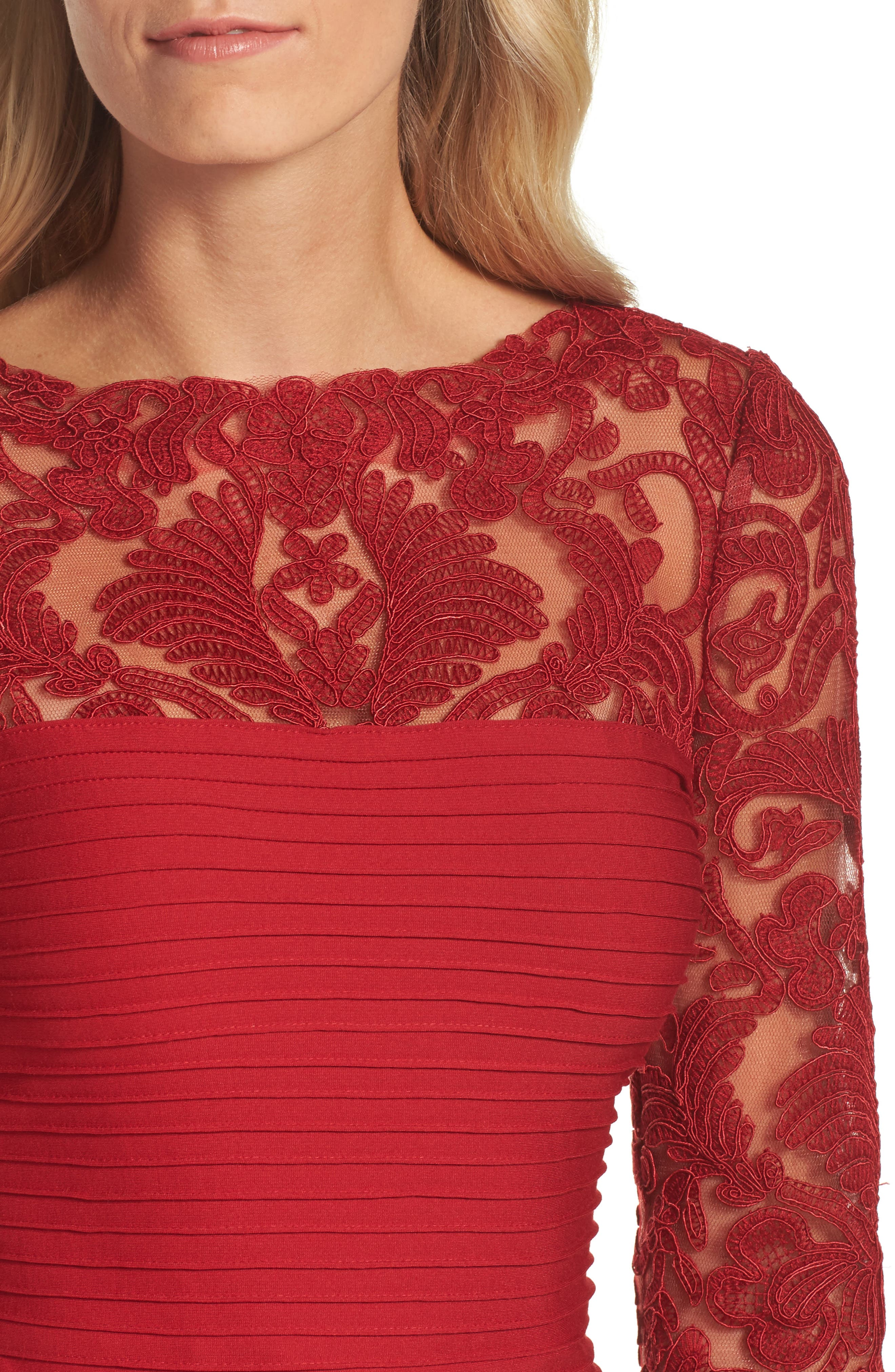 Illusion Pintuck Sheath Dress,                             Alternate thumbnail 4, color,                             Deep Red