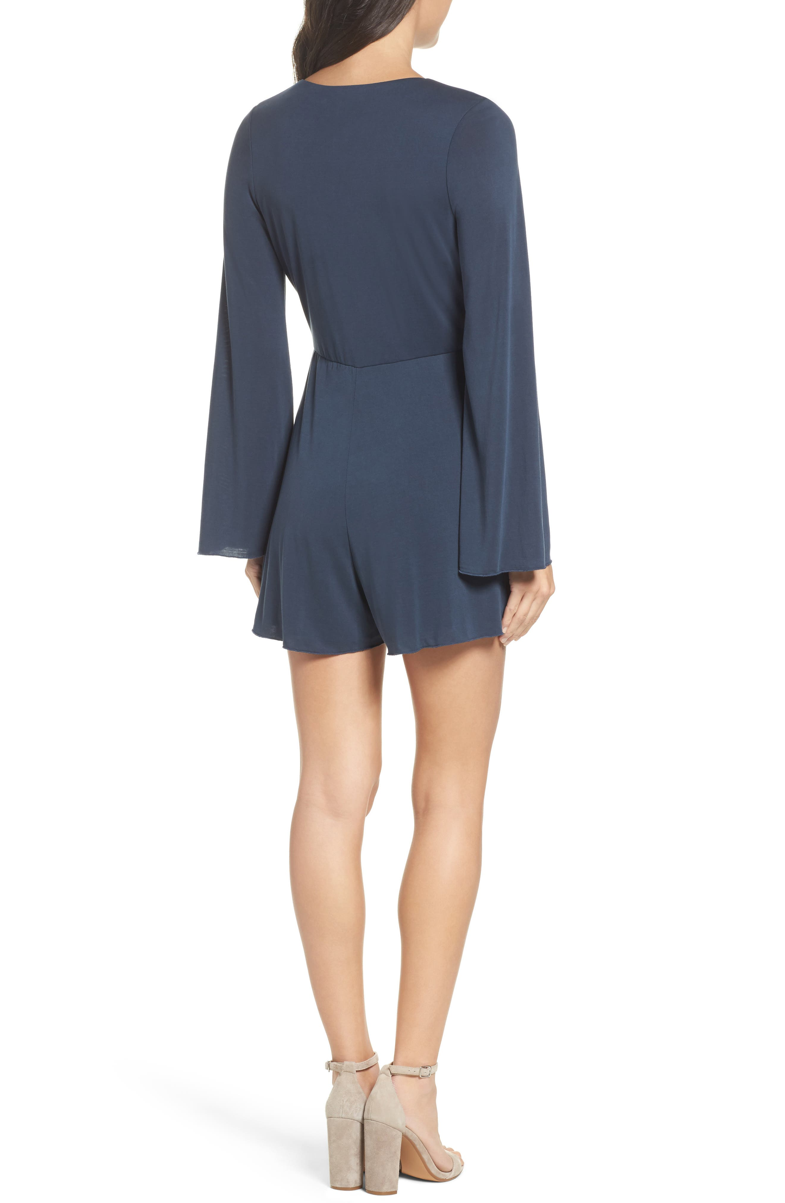 Long Sleeve Romper,                             Alternate thumbnail 2, color,                             Navy