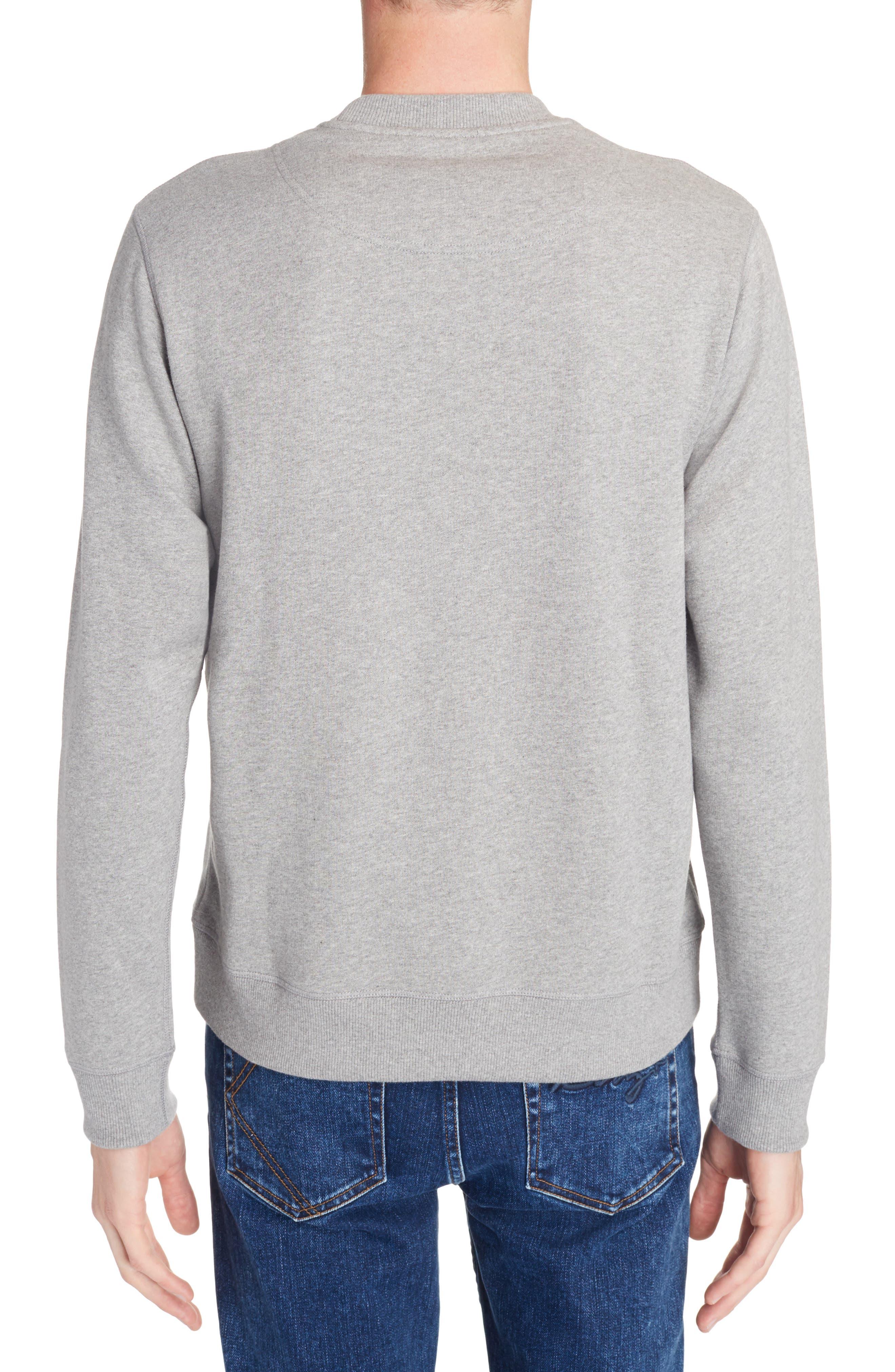 Rainbow Tiger Crewneck Sweatshirt,                             Alternate thumbnail 2, color,                             Dove Grey