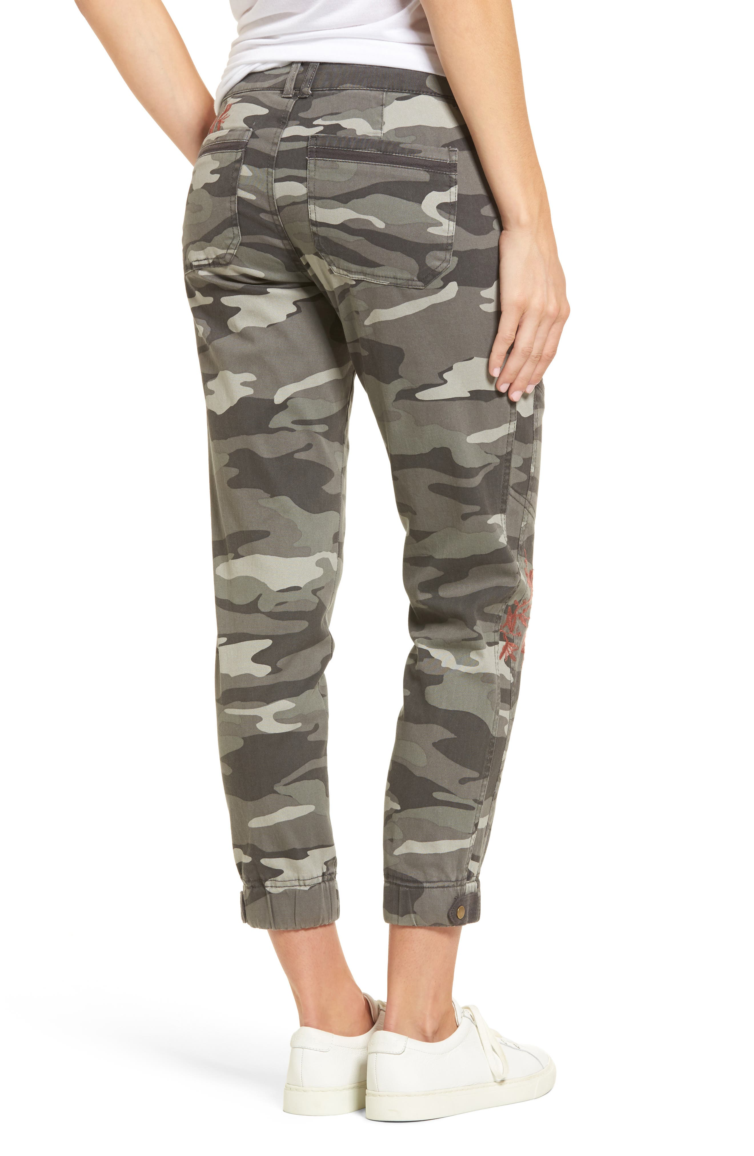 Embroidered Camo Utility Joggers,                             Alternate thumbnail 2, color,                             Sage