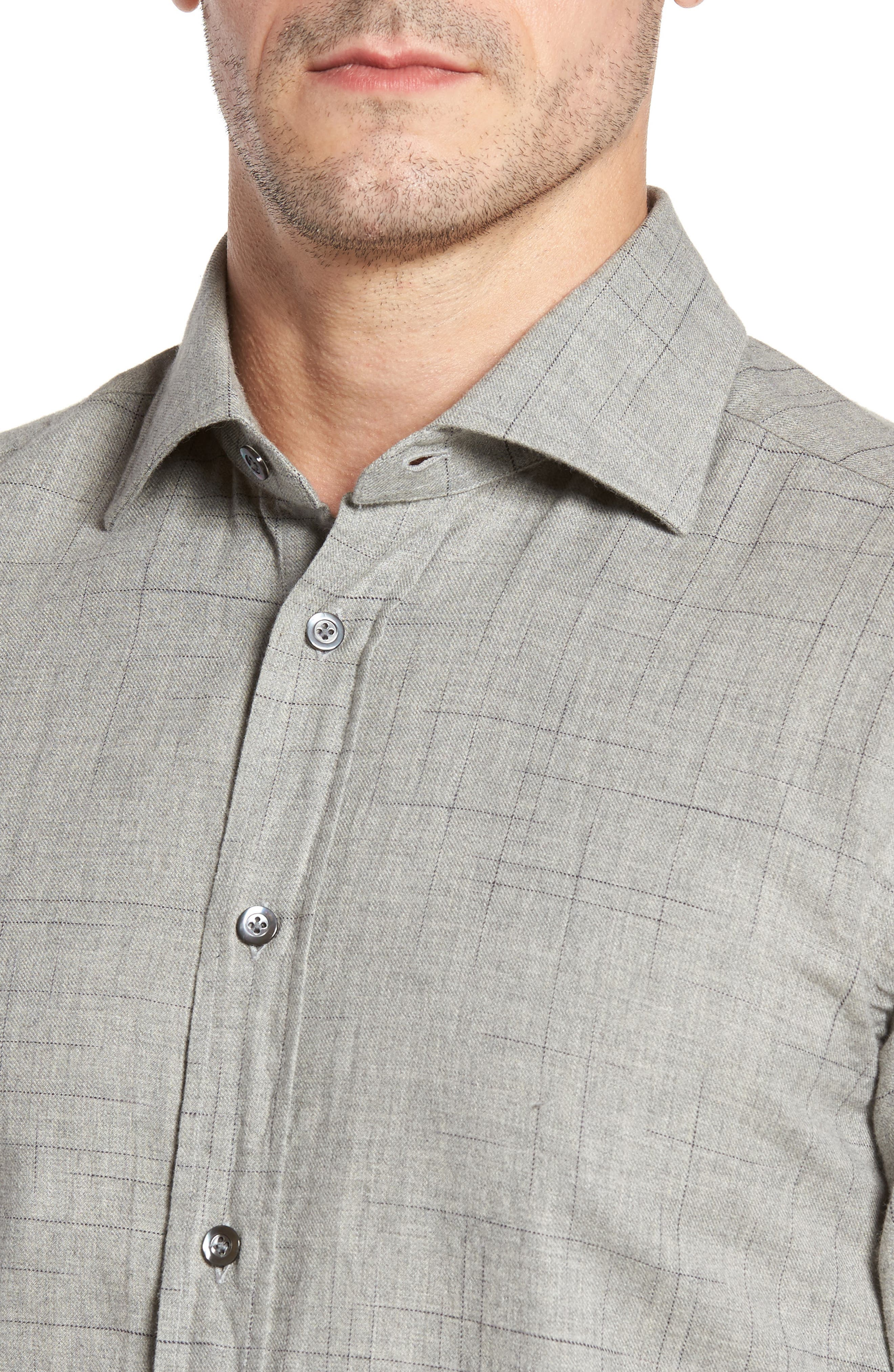 Broken Plaid Sport Shirt,                             Alternate thumbnail 4, color,                             Light Grey