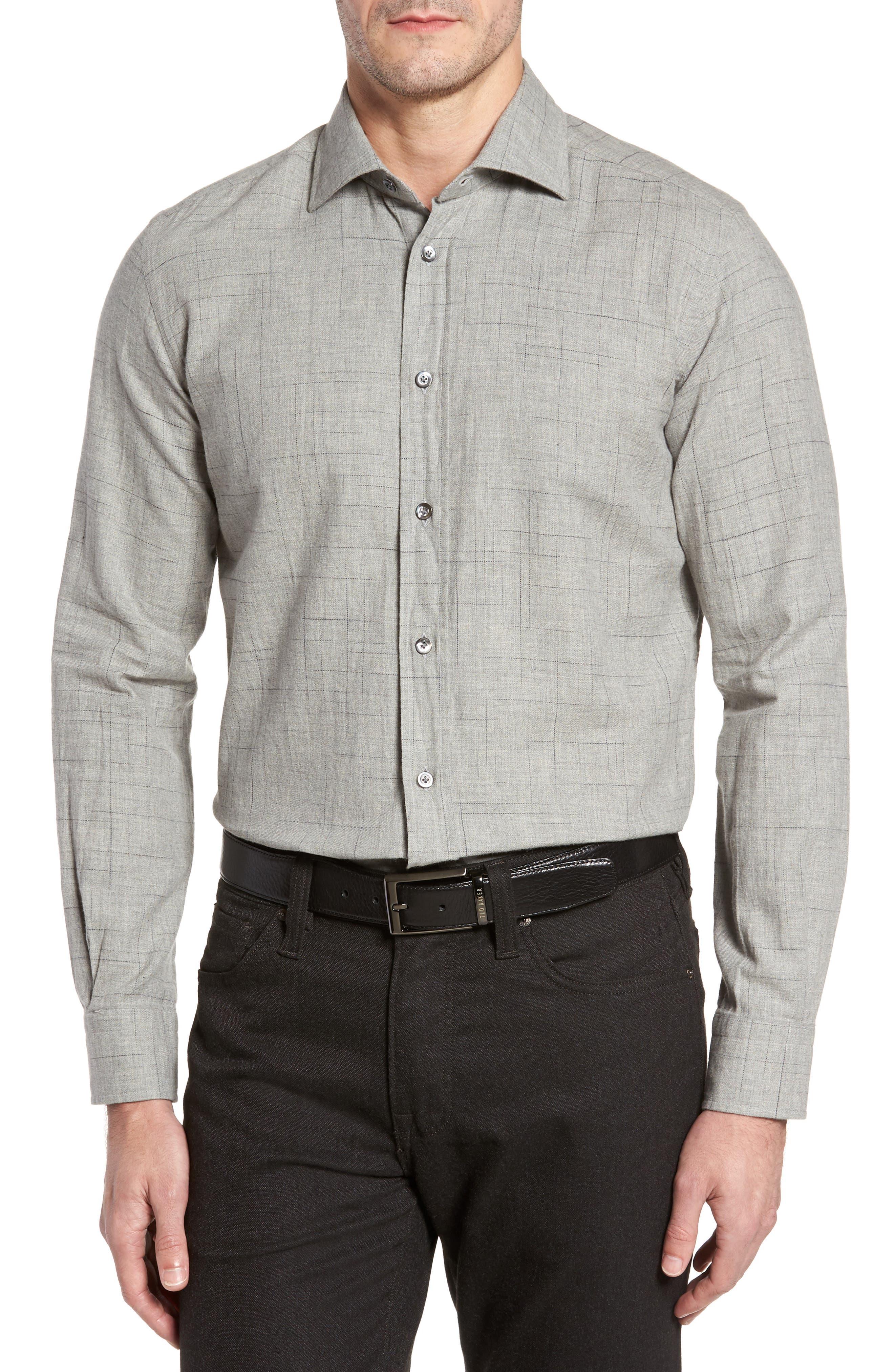Broken Plaid Sport Shirt,                             Main thumbnail 1, color,                             Light Grey