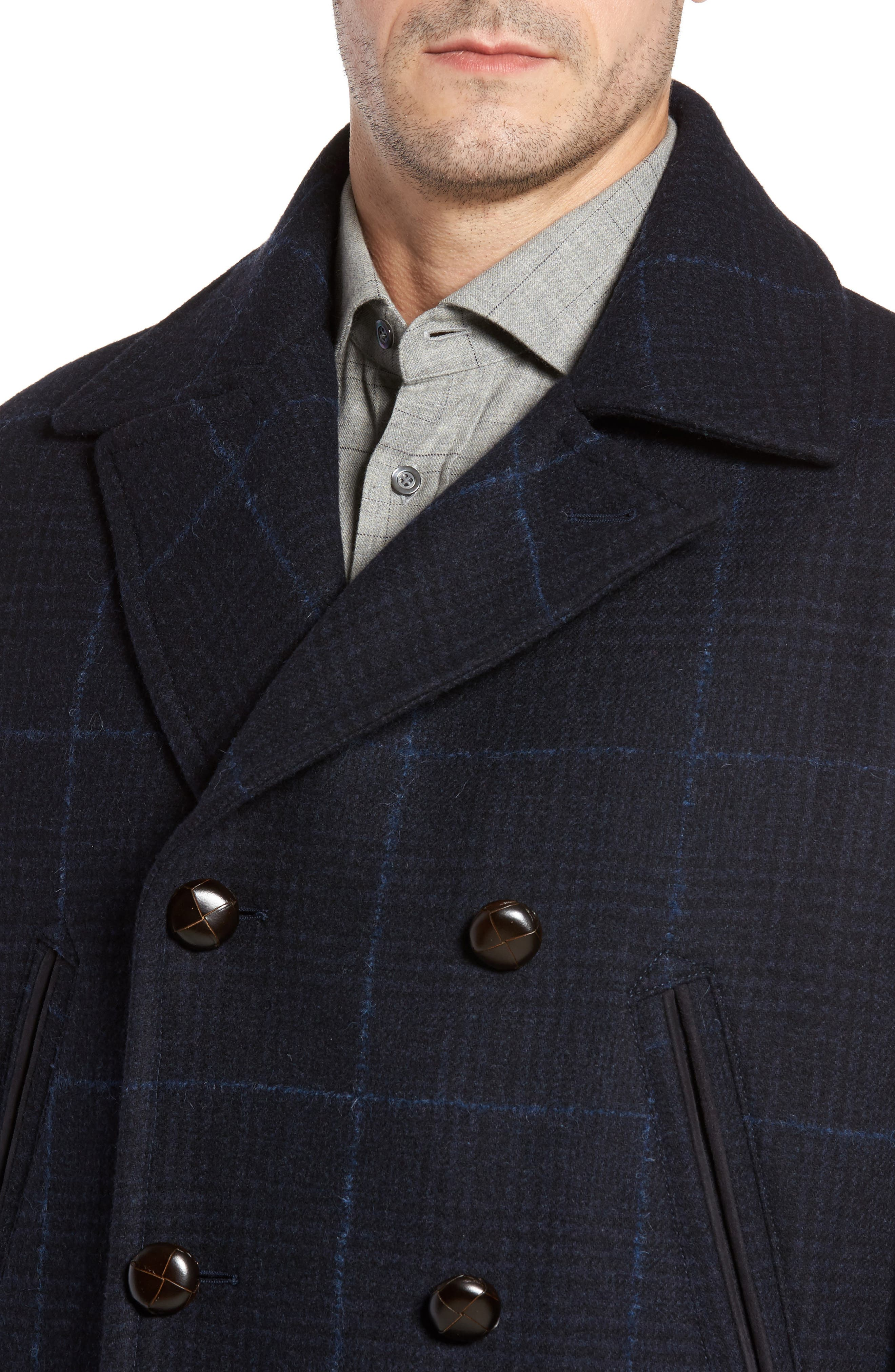 Wool Plaid Peacoat,                             Alternate thumbnail 4, color,                             Navy