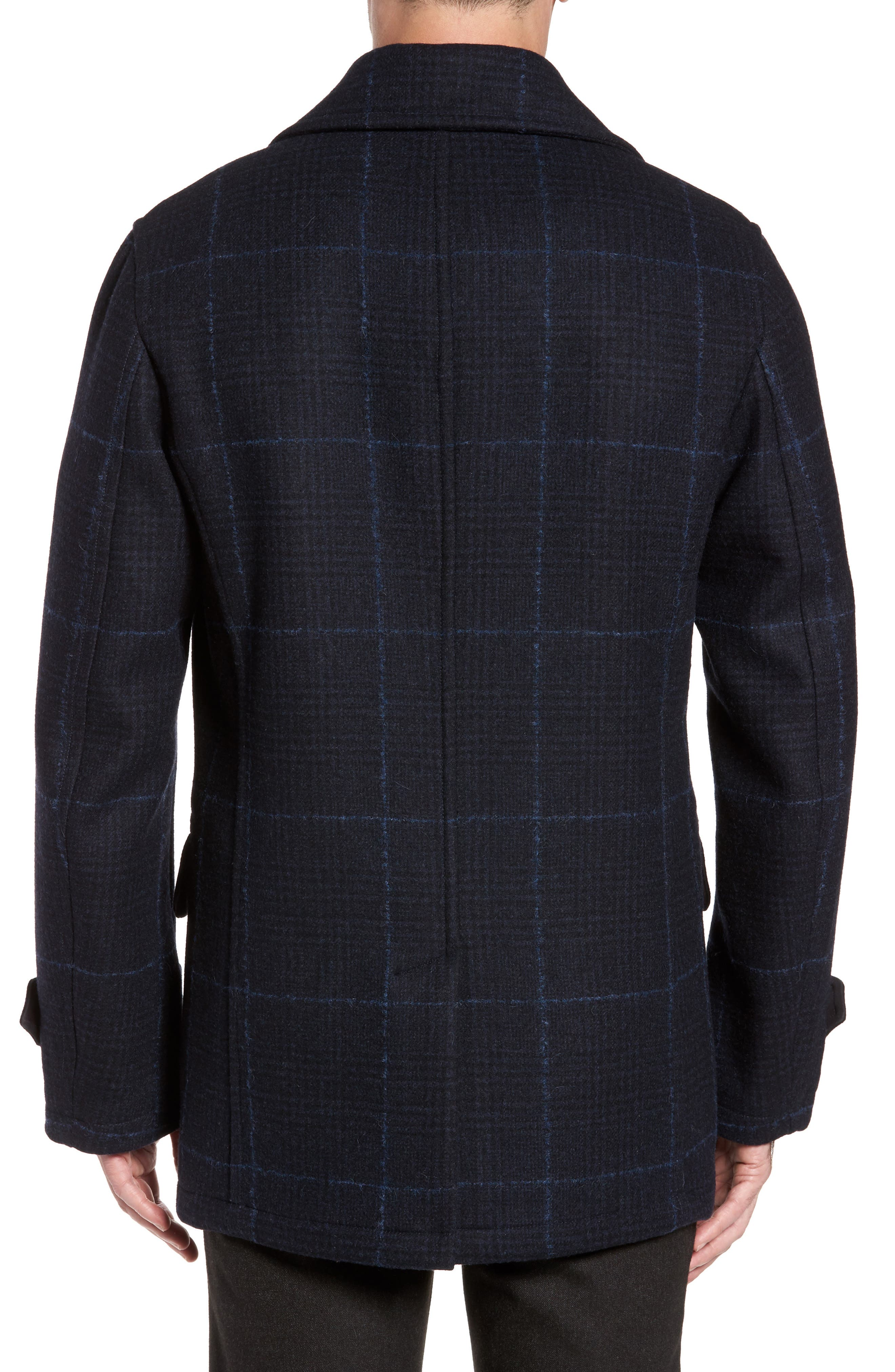 Wool Plaid Peacoat,                             Alternate thumbnail 2, color,                             Navy
