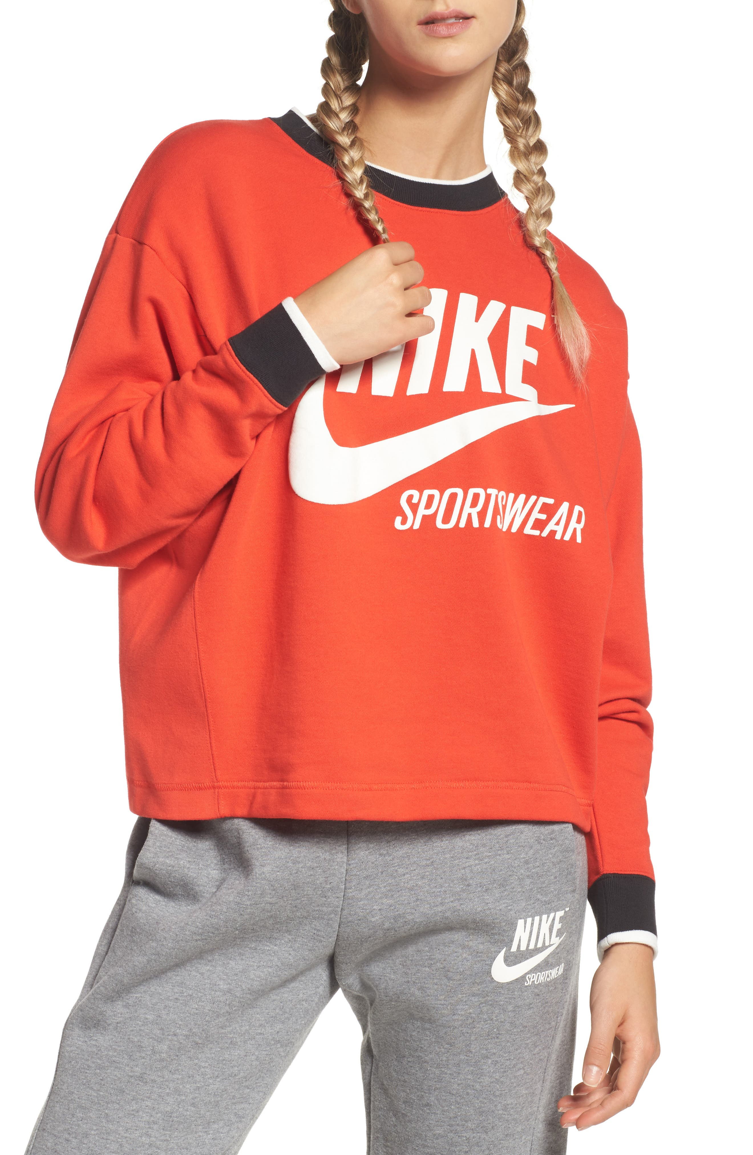 Sportswear Archive Sweatshirt,                         Main,                         color, Rush Red