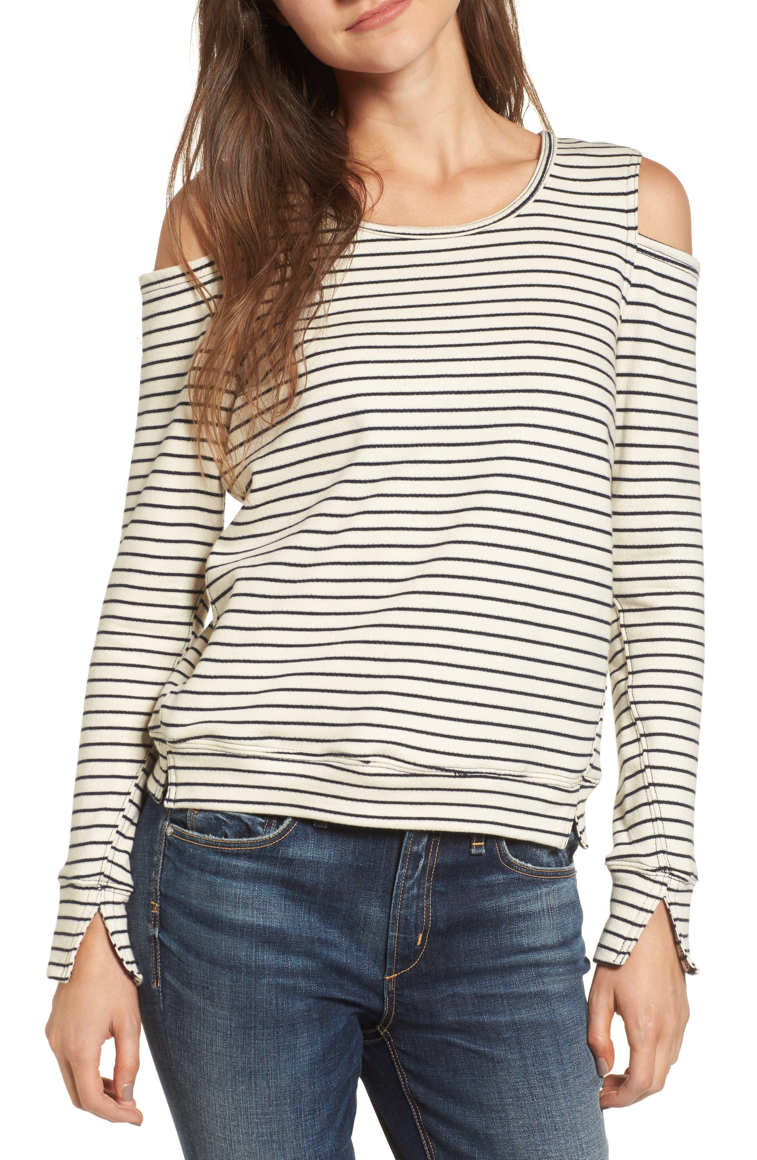 Wildair Cold Shoulder Sweatshirt,                         Main,                         color, Ski Stripe