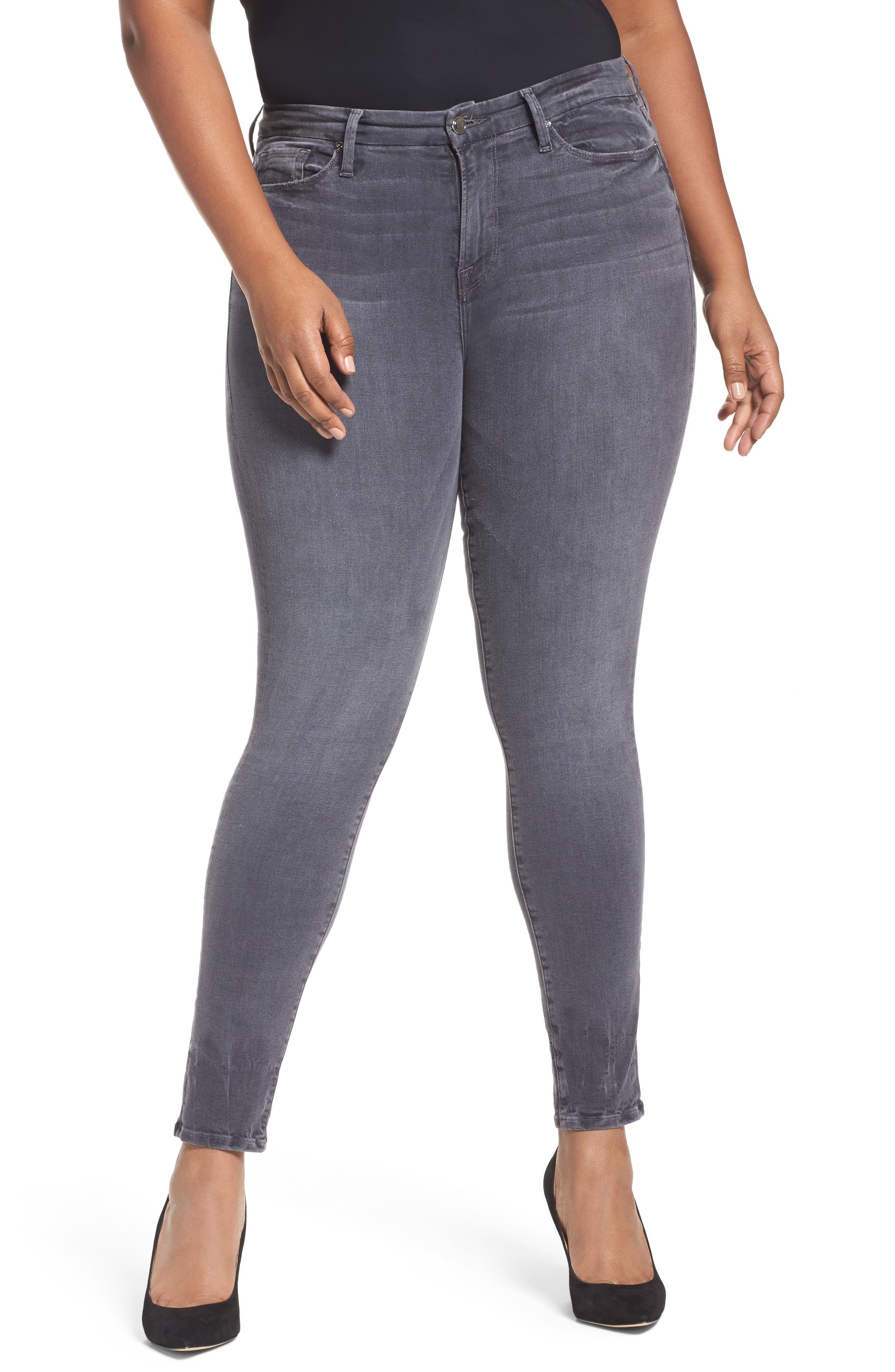Alternate Image 6  - Good American Good Legs High Waist Skinny Jeans (Grey 002) (Extended Sizes)