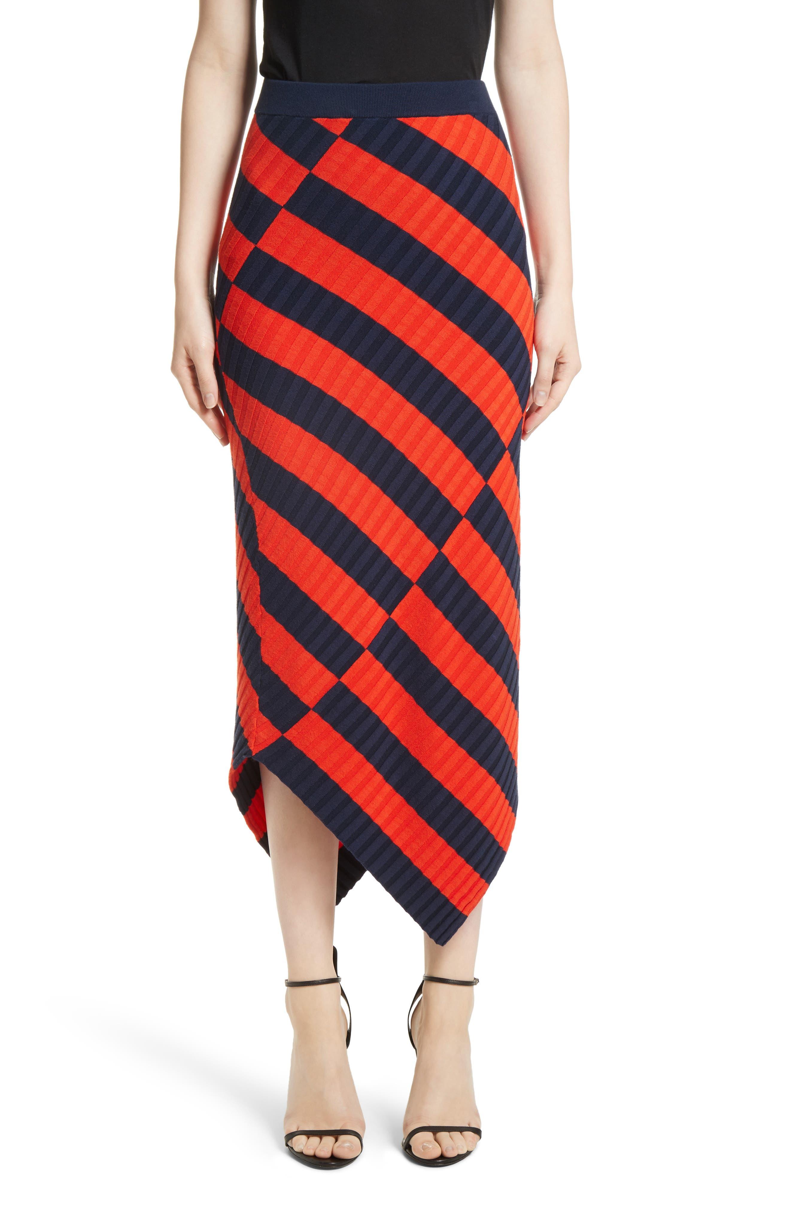 Asymmetrical Stripe Midi Skirt,                         Main,                         color, Persimmon