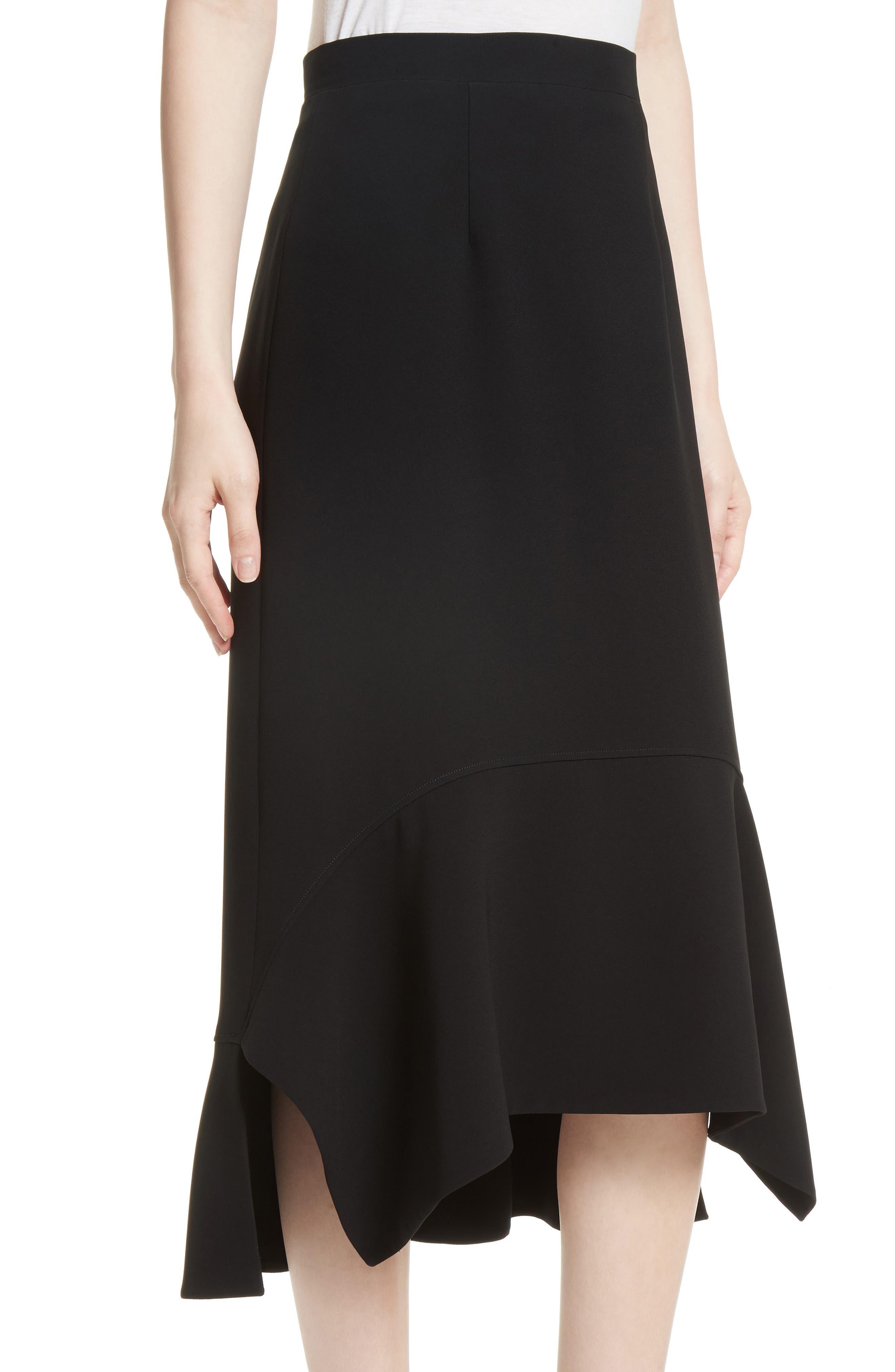 Drape Hem Midi Skirt,                             Alternate thumbnail 4, color,                             Black