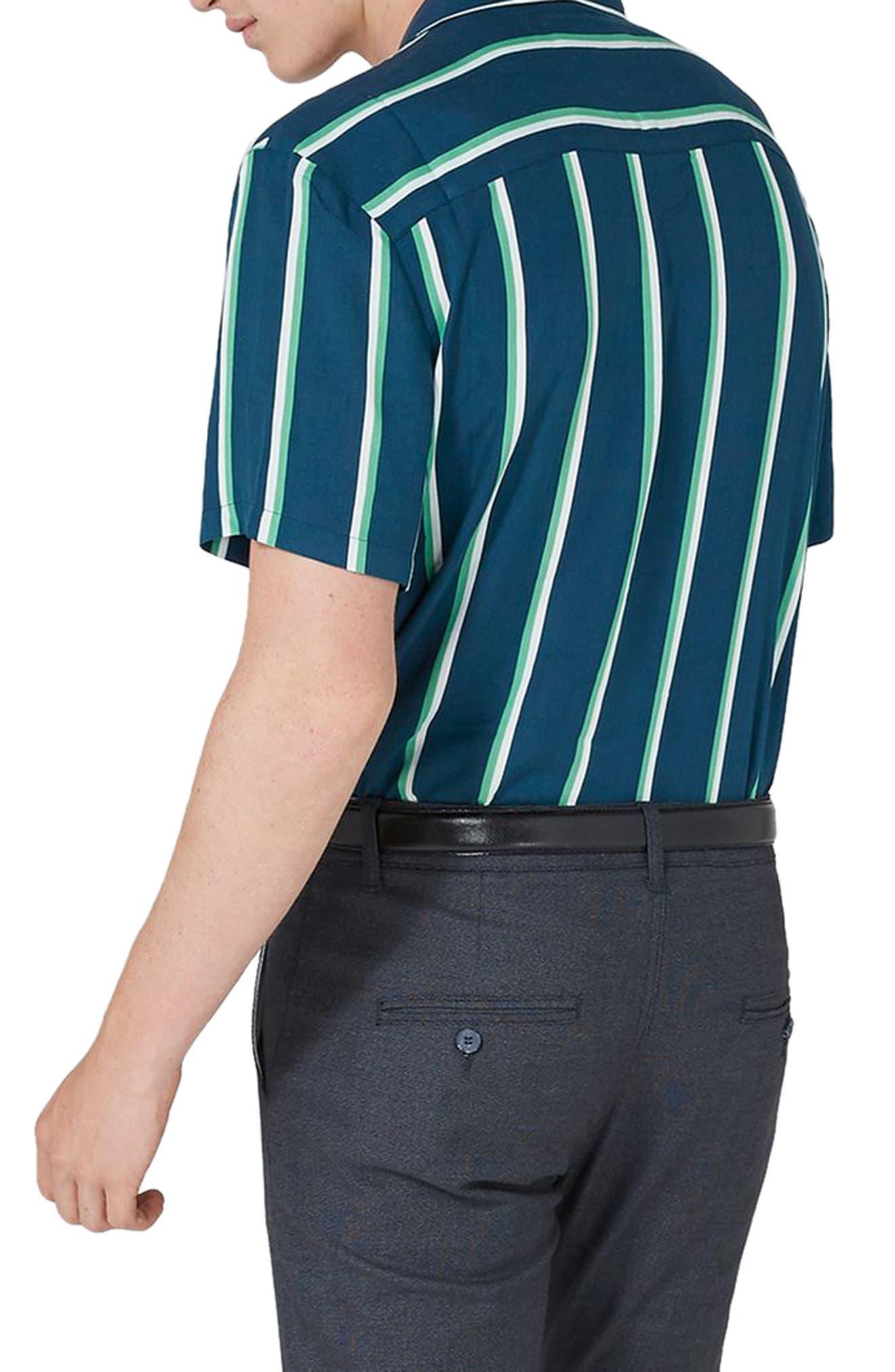 Alternate Image 2  - Topman Stripe Revere Collar Shirt
