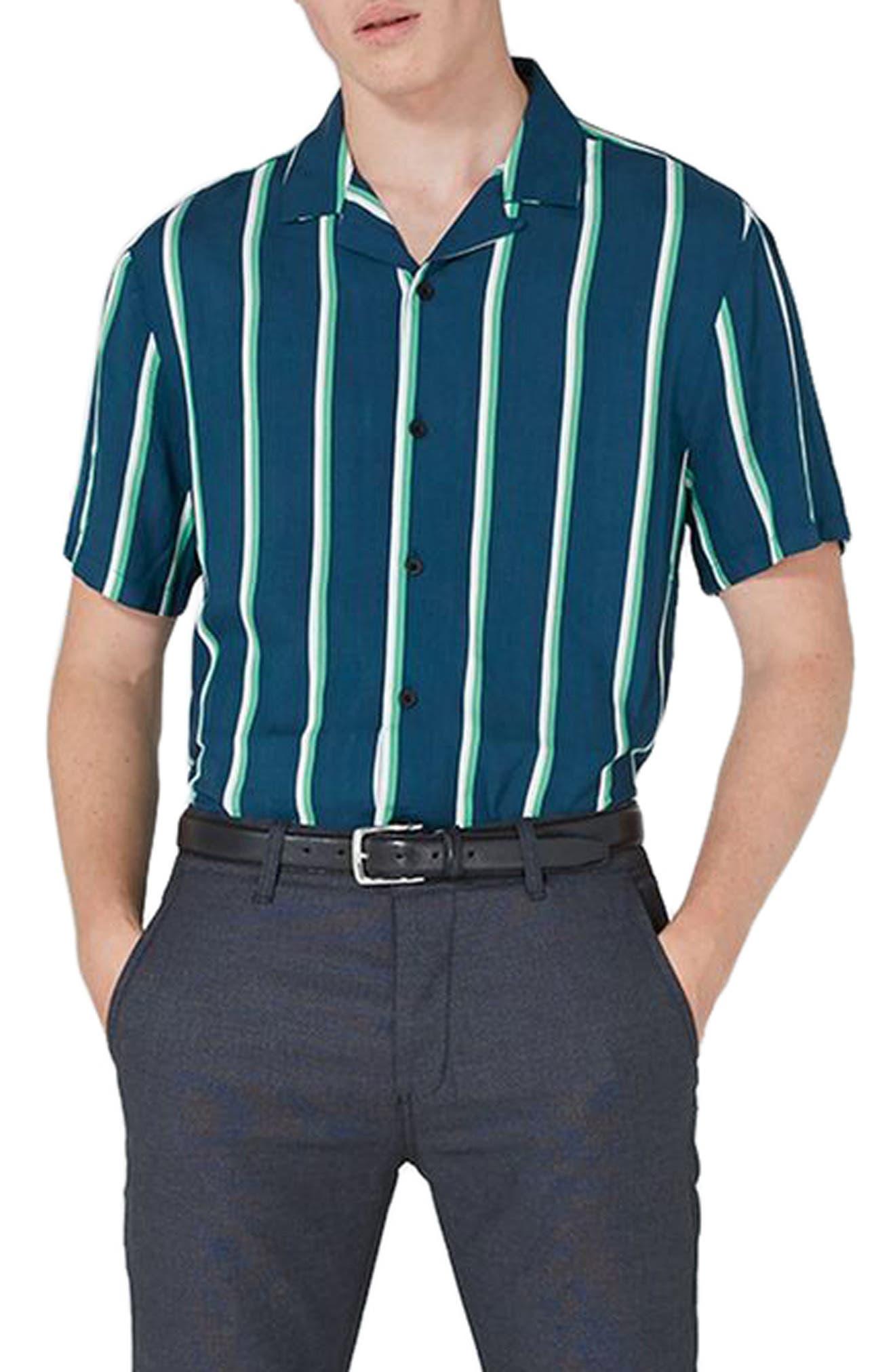 Stripe Revere Collar Shirt,                         Main,                         color, Blue
